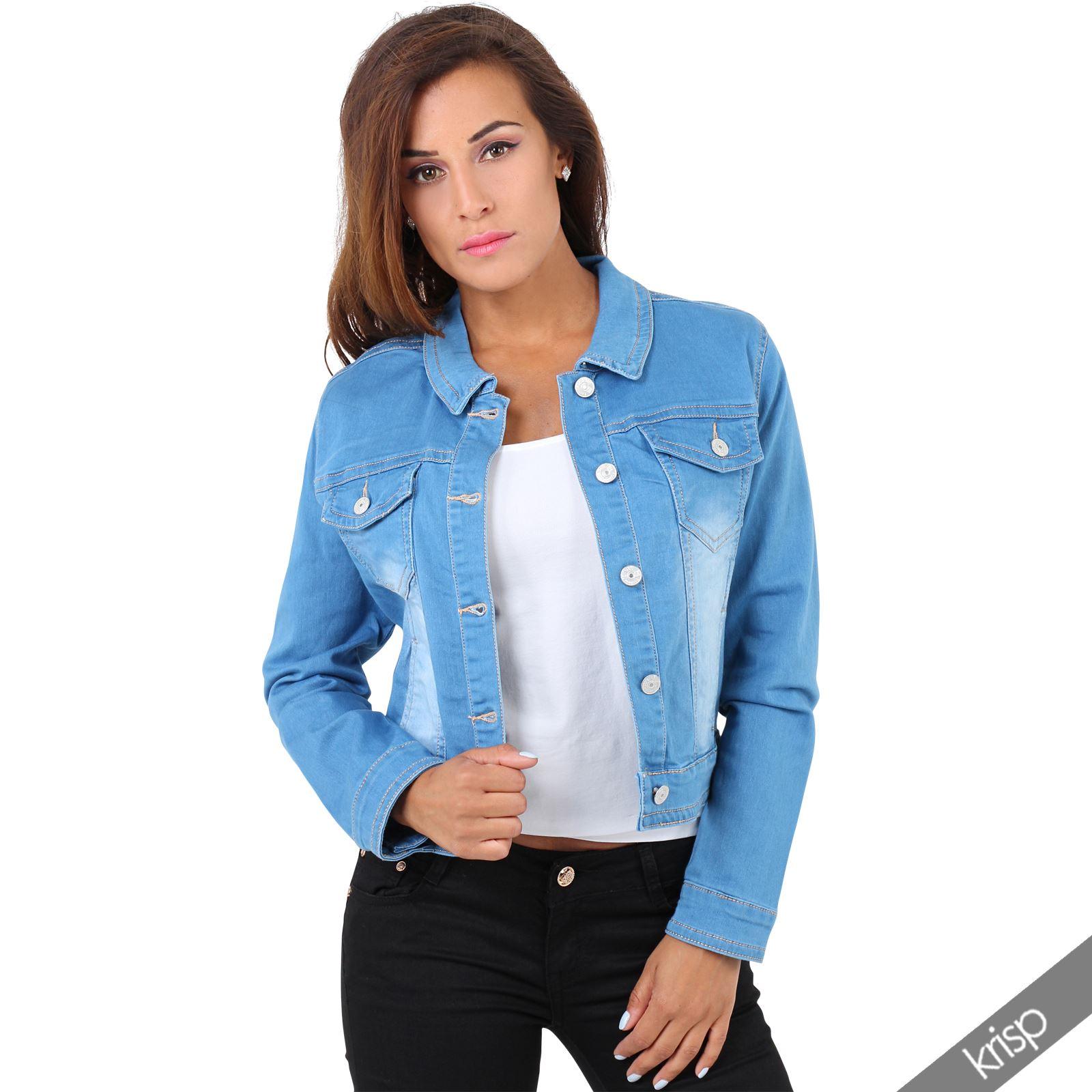 womens stretch denim retro 80s casual crop jacket