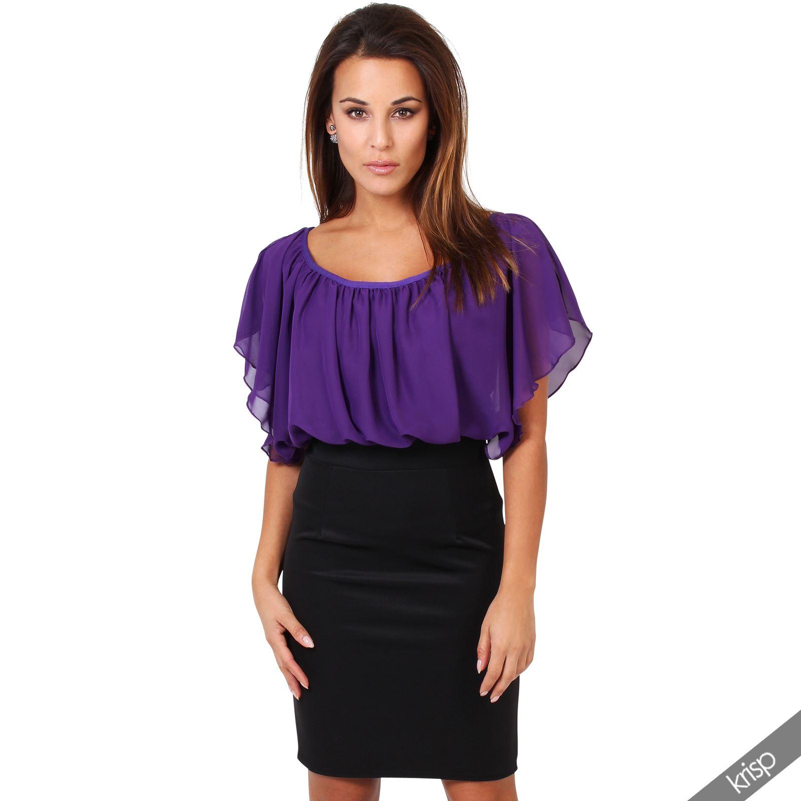 Women Elegant Bodycon Dress Smart Pencil Skirt Loose Chiffon Blouse Shirt AU