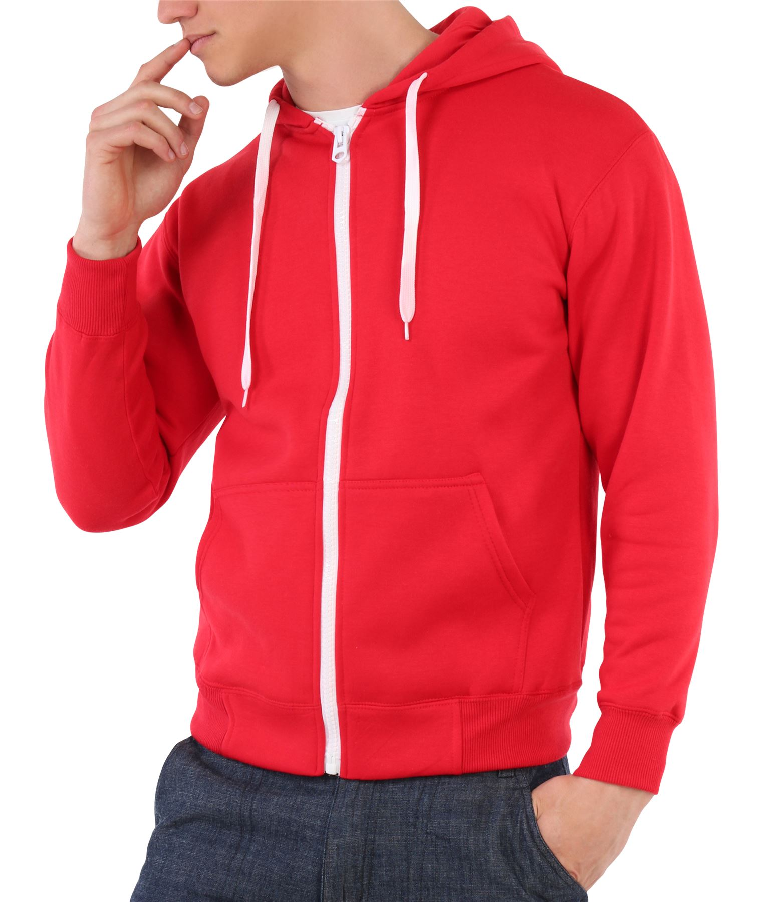 Mens Zip Up Plain Tracksuit Hoody Hoodie Hooded Top Jacket ...