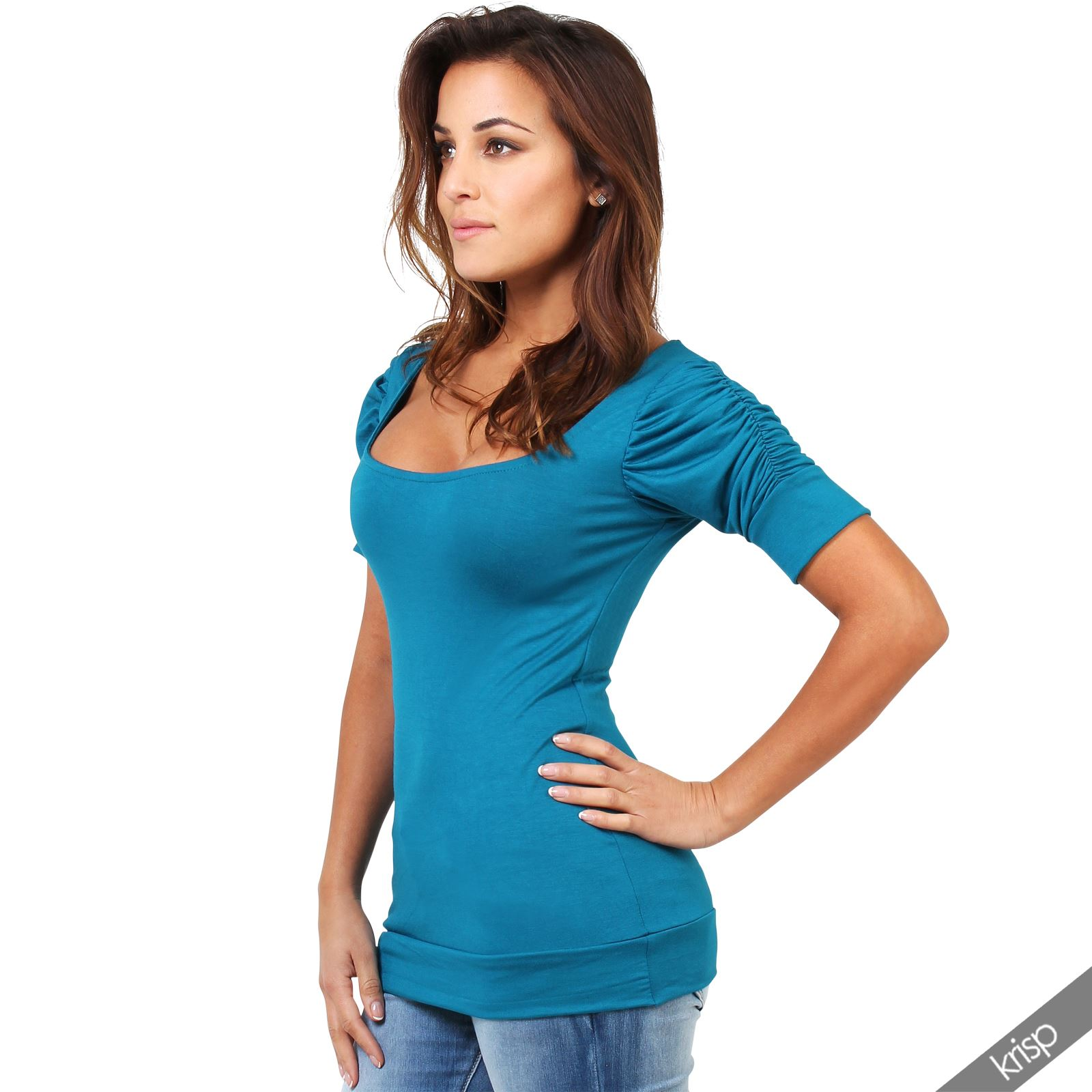 Womens Ladies Ruched Pleated Sleeve Plain Stretch Jersey ...