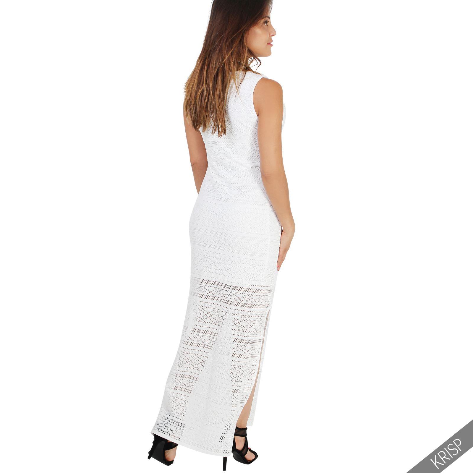 femme robe longue crochet fentes transparente basique nouvelle saison et. Black Bedroom Furniture Sets. Home Design Ideas