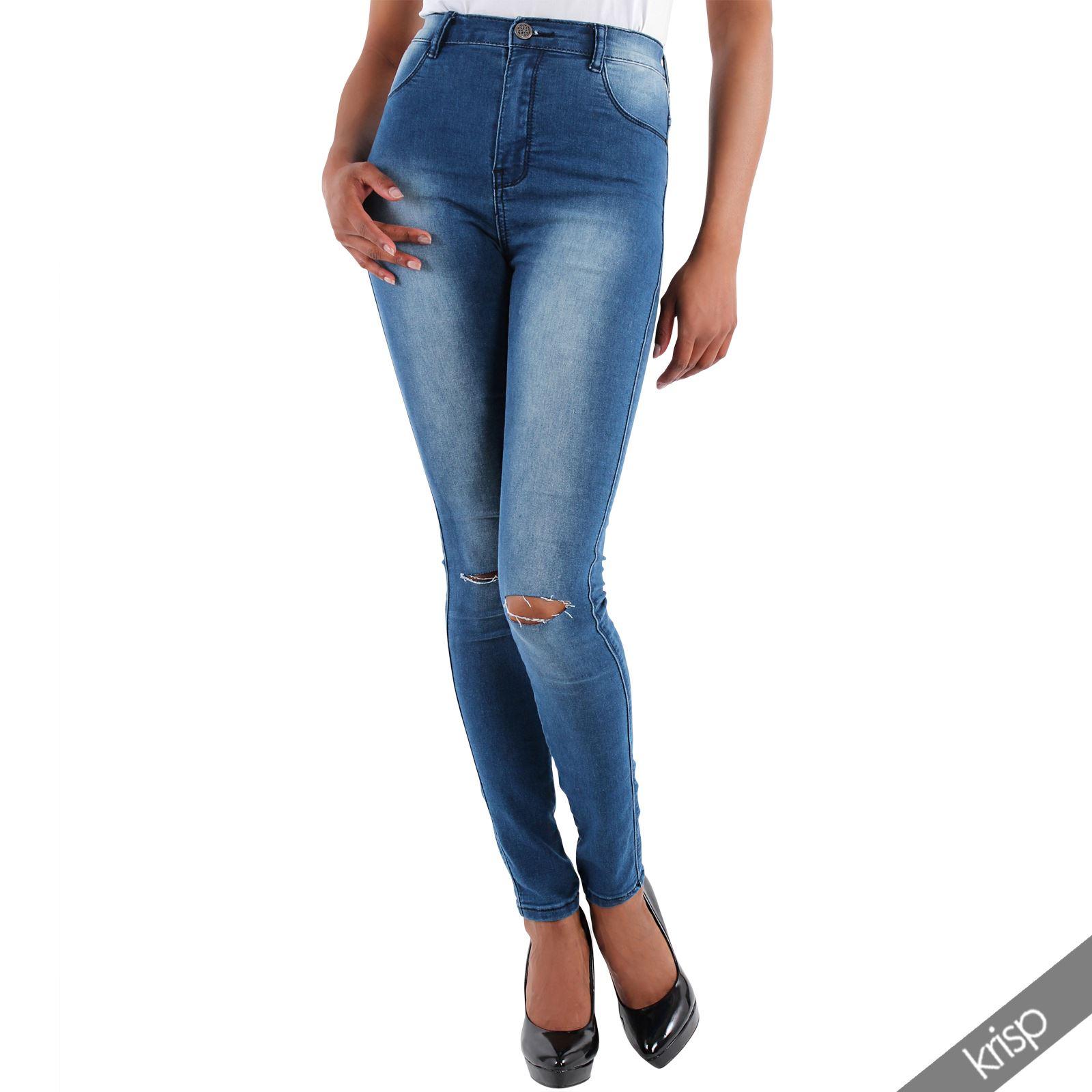 damen high waisted jeans slim fit ripped aufgerissen hoher bund stretch jeggings ebay. Black Bedroom Furniture Sets. Home Design Ideas