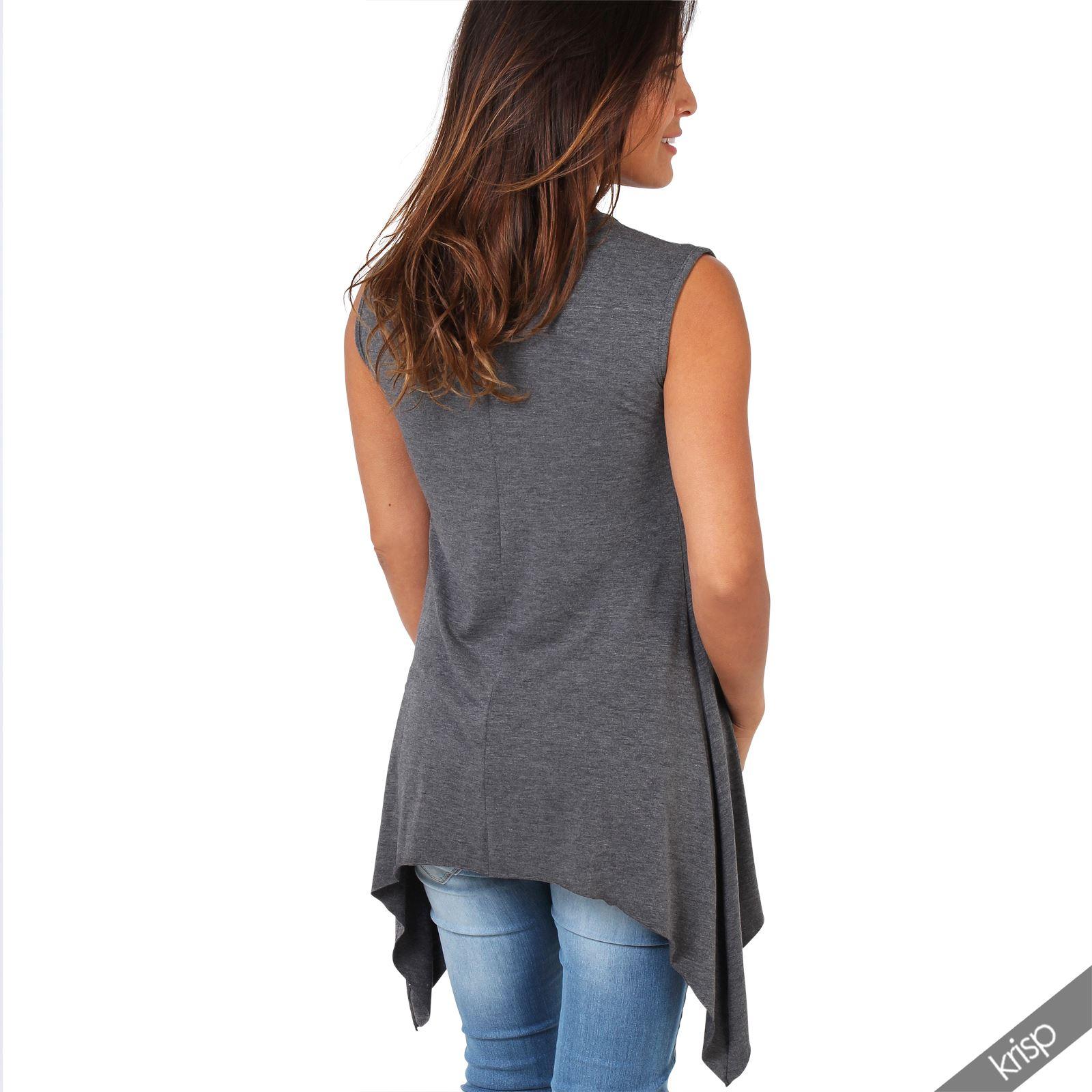 tunique longue haut femme pliss asym trique sans manche sexy top grande taille ebay. Black Bedroom Furniture Sets. Home Design Ideas