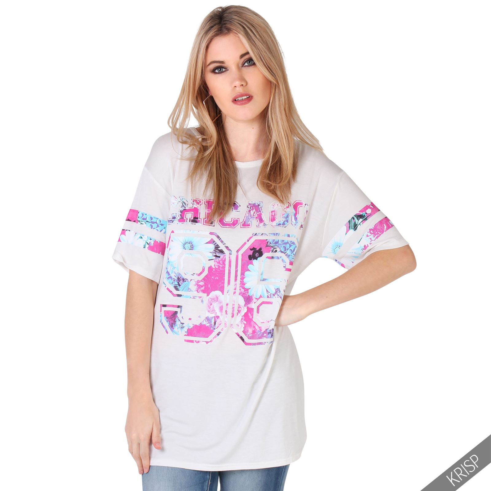 au womens oversized tee shirt american varsity print baseball long jersey top ebay. Black Bedroom Furniture Sets. Home Design Ideas