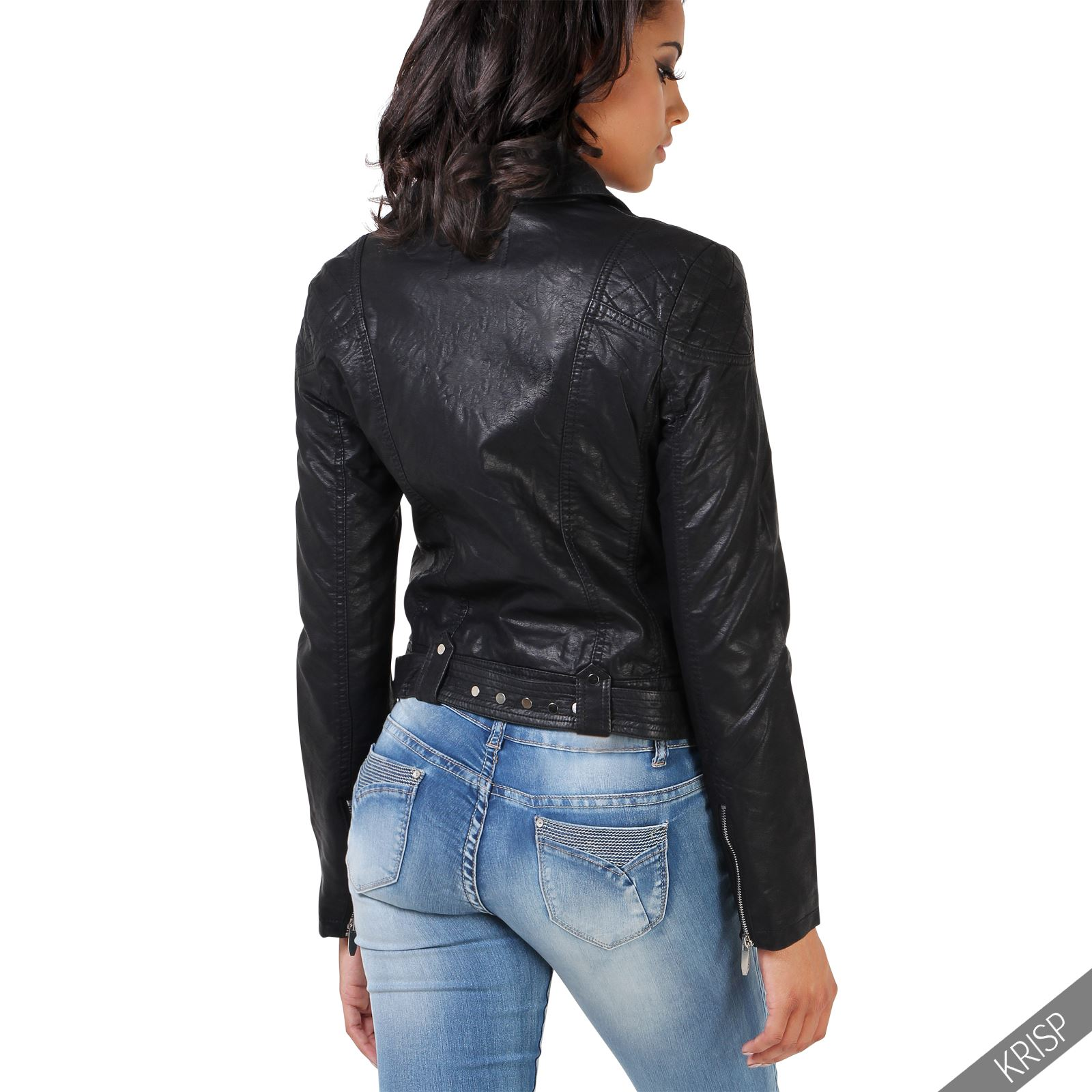 femmes veste biker casual matelass e clous sexy cuir. Black Bedroom Furniture Sets. Home Design Ideas