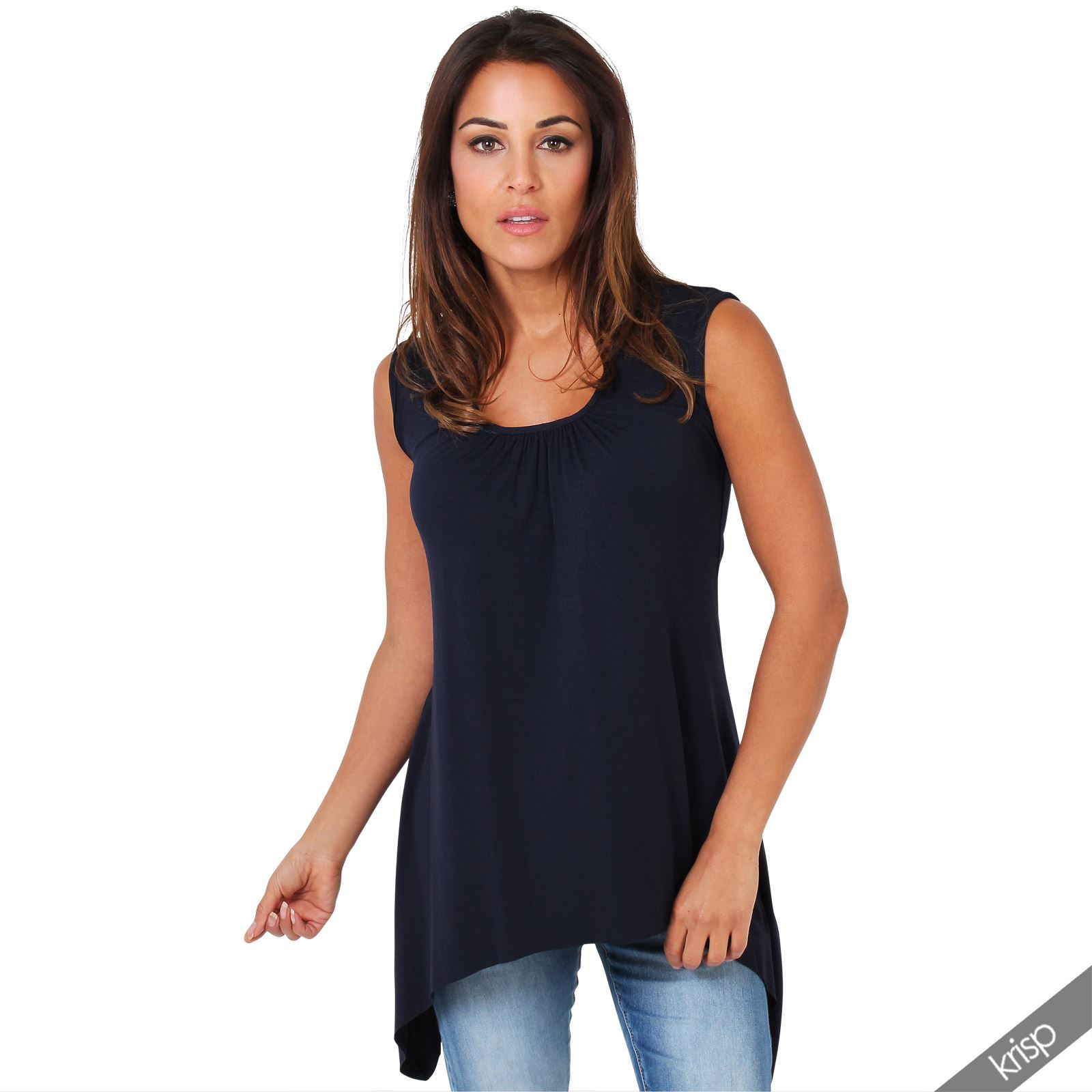 women long top sleeveless pleated tee shirt tunic jersey stretch loose fit ebay. Black Bedroom Furniture Sets. Home Design Ideas