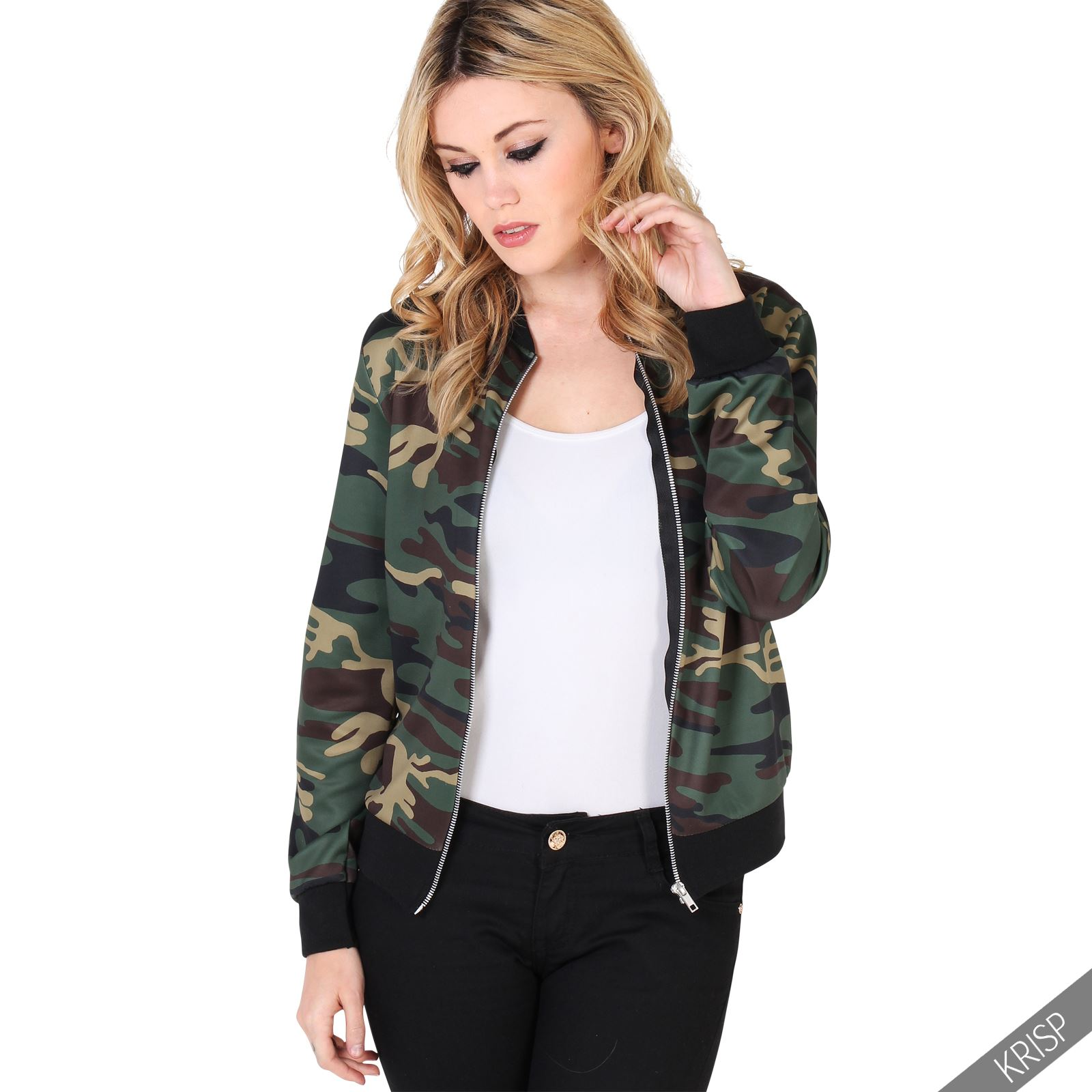 womens fashion camouflage army bomber jacket ma1 flight vintage zip up ebay. Black Bedroom Furniture Sets. Home Design Ideas