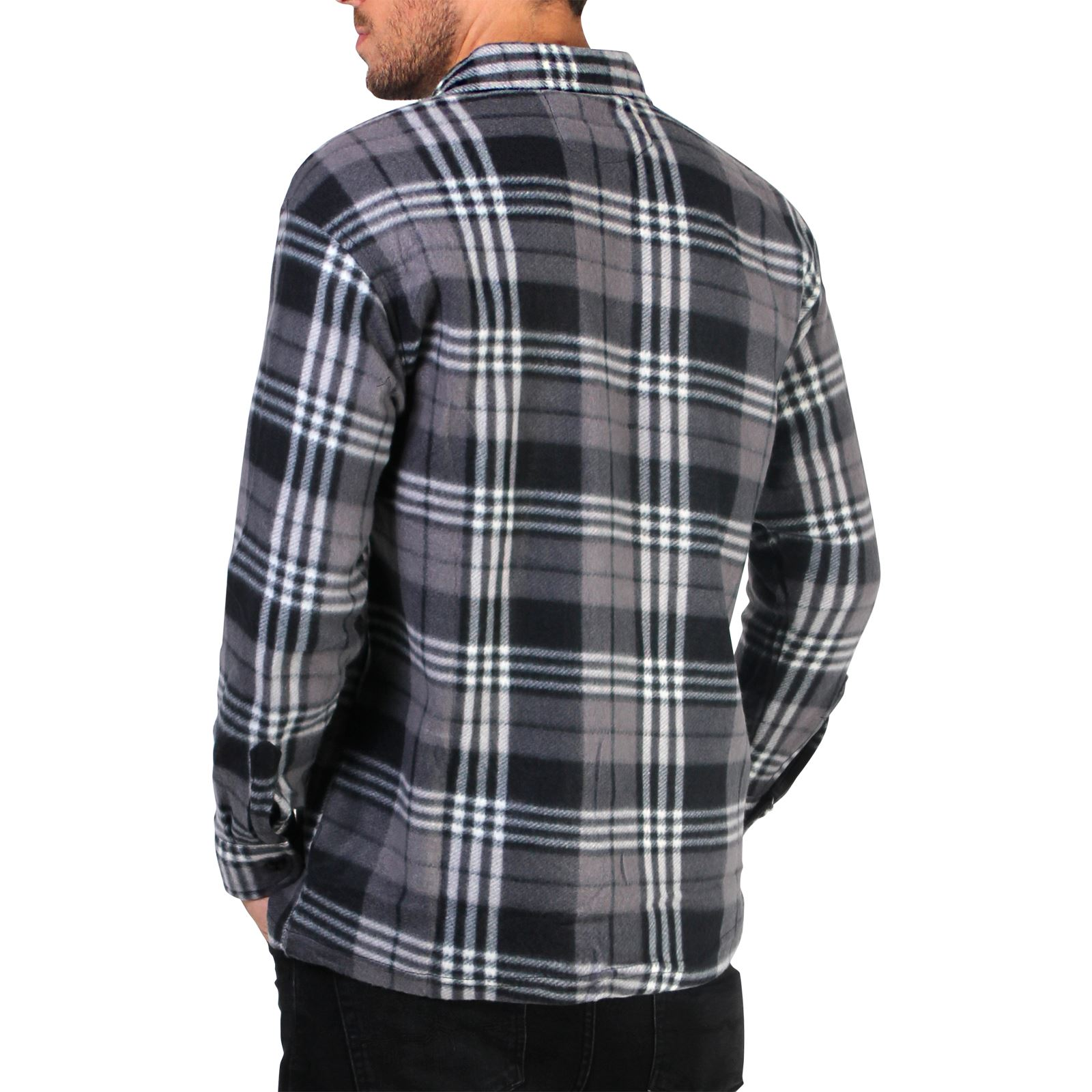 Mens check soft fleece thermal lumberjack warm winter for Mens insulated flannel shirts