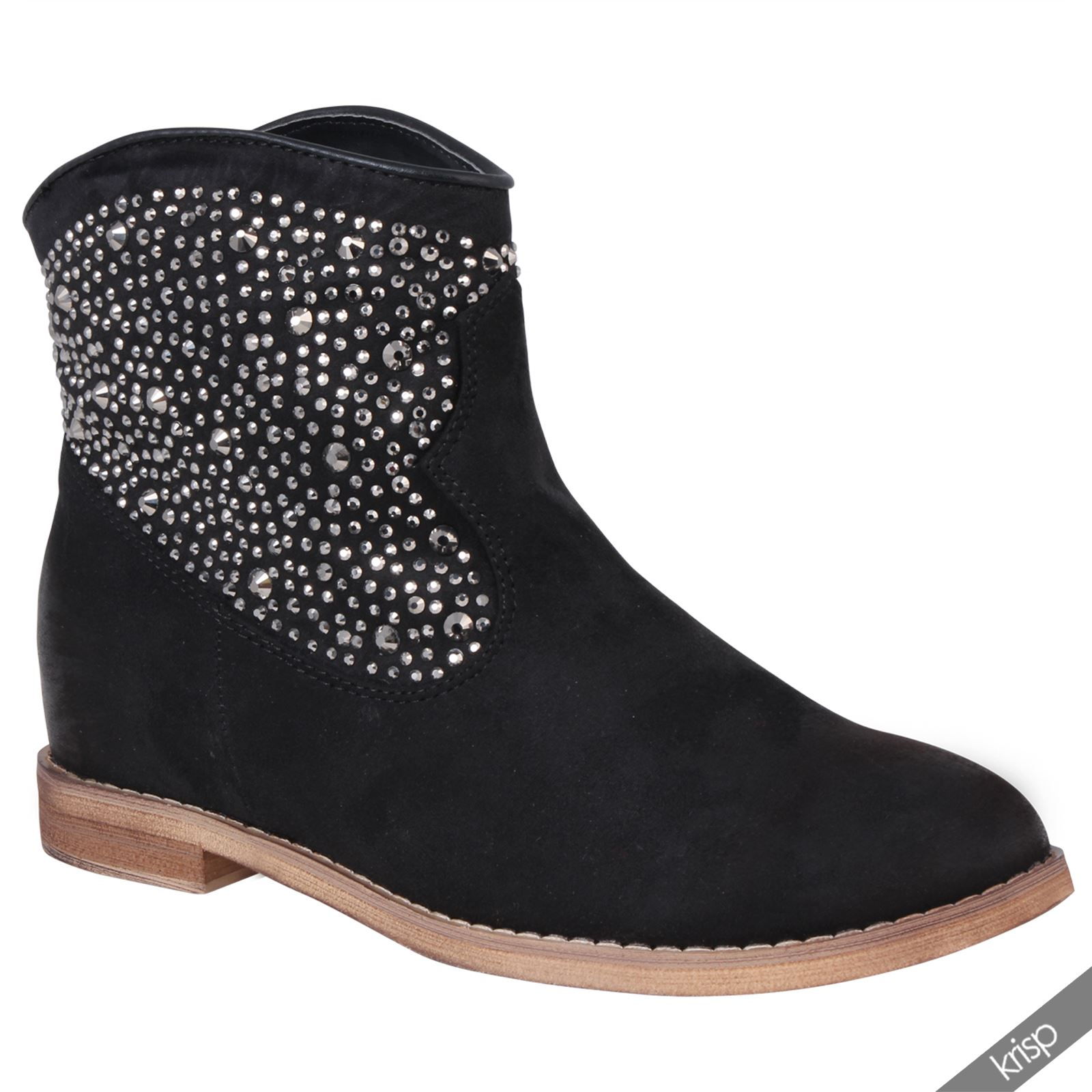 Womens Studded Suede Flat Heel Ankle Boots Slouchy Pixy ...