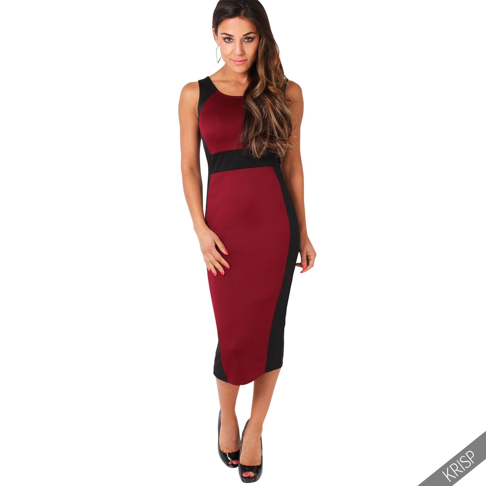 damen stretch kleid kontrastfarben knielang hohe taille cocktailkleid etuikleid ebay