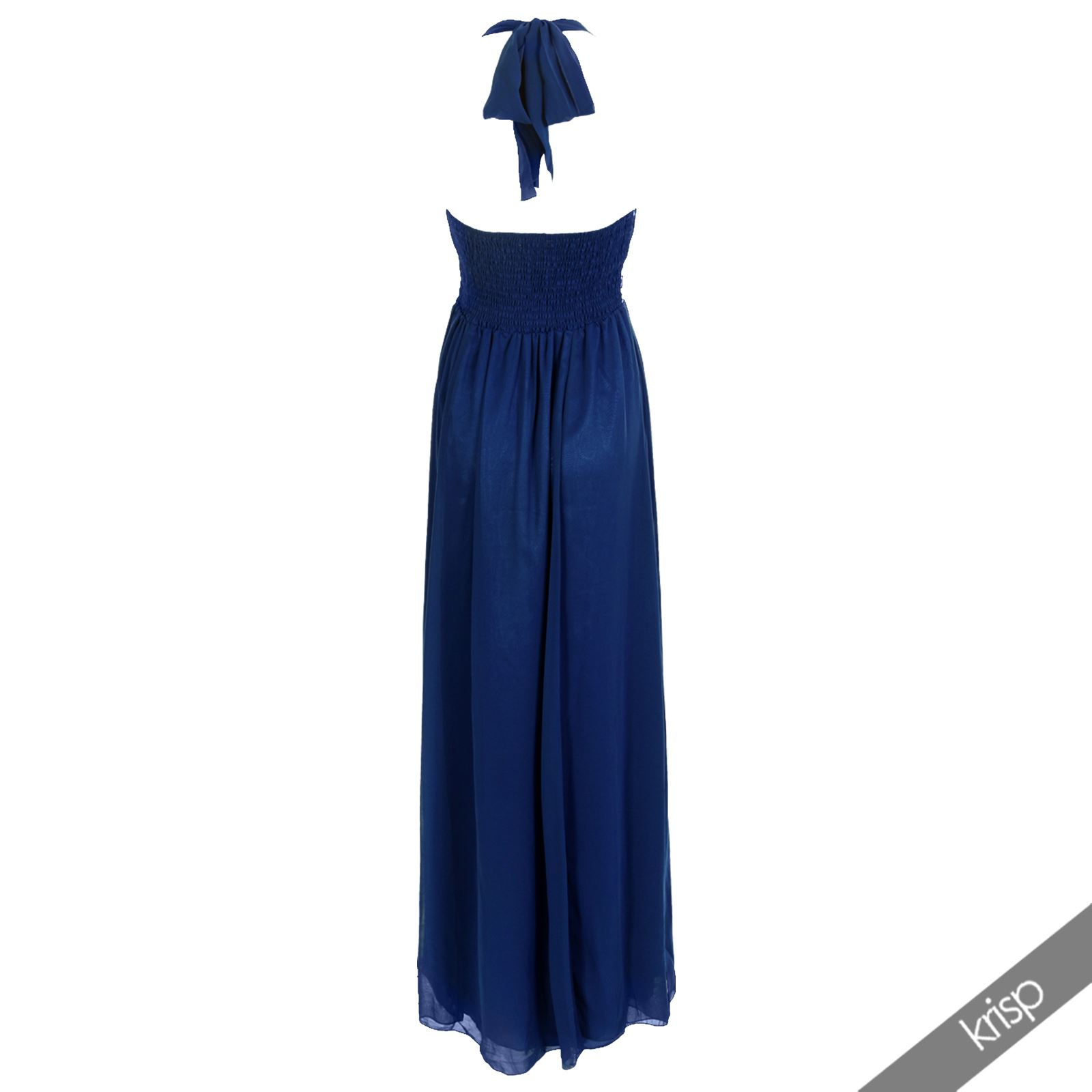 Womens Diamante Maxi Dress Gem Embellished Pleated Chiffon