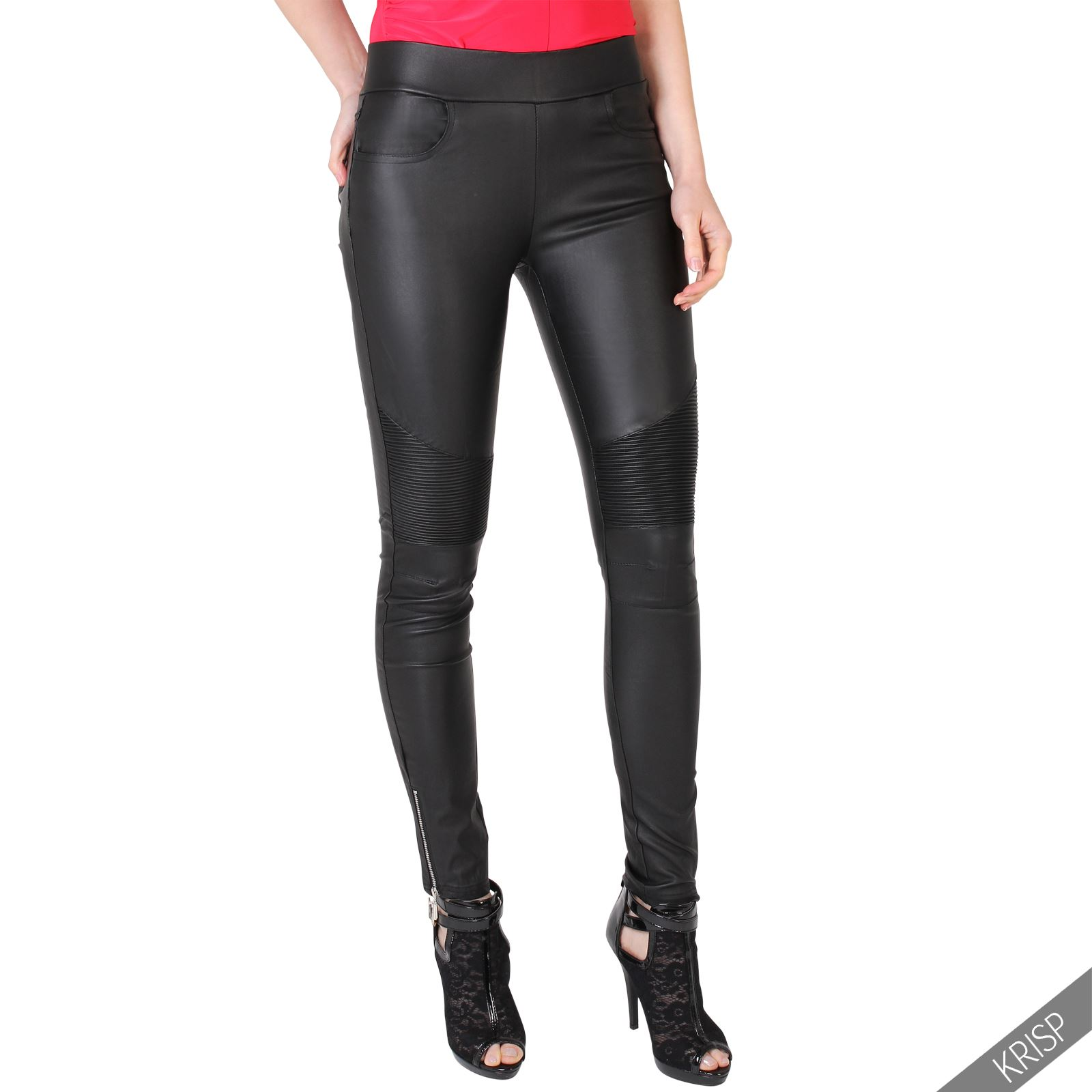 damen biker jeggings stretch kunstleder hose slim fit skinny lederhose wet look. Black Bedroom Furniture Sets. Home Design Ideas