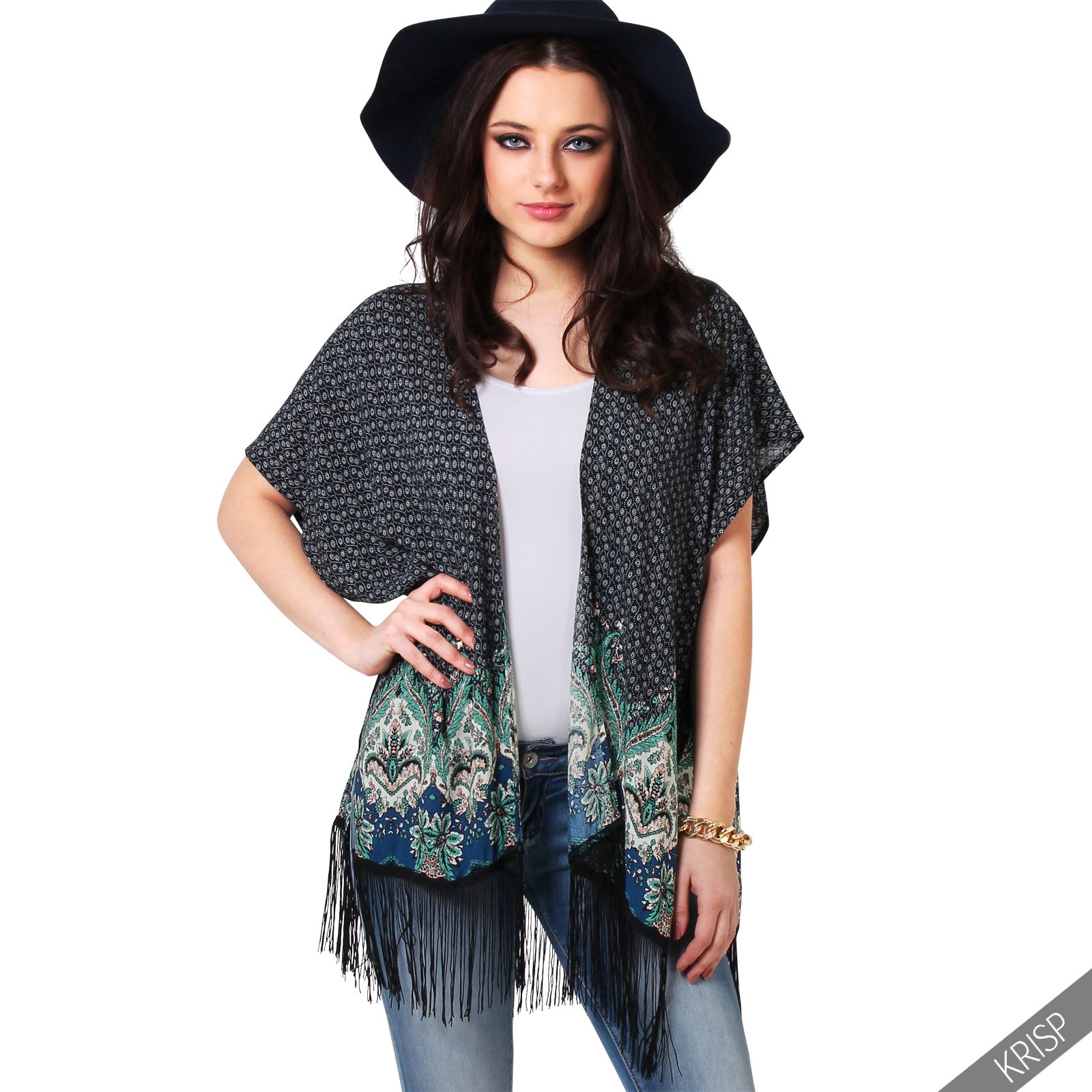 femme cardigan kimono l ger ouvert imprim franges haut long ebay. Black Bedroom Furniture Sets. Home Design Ideas