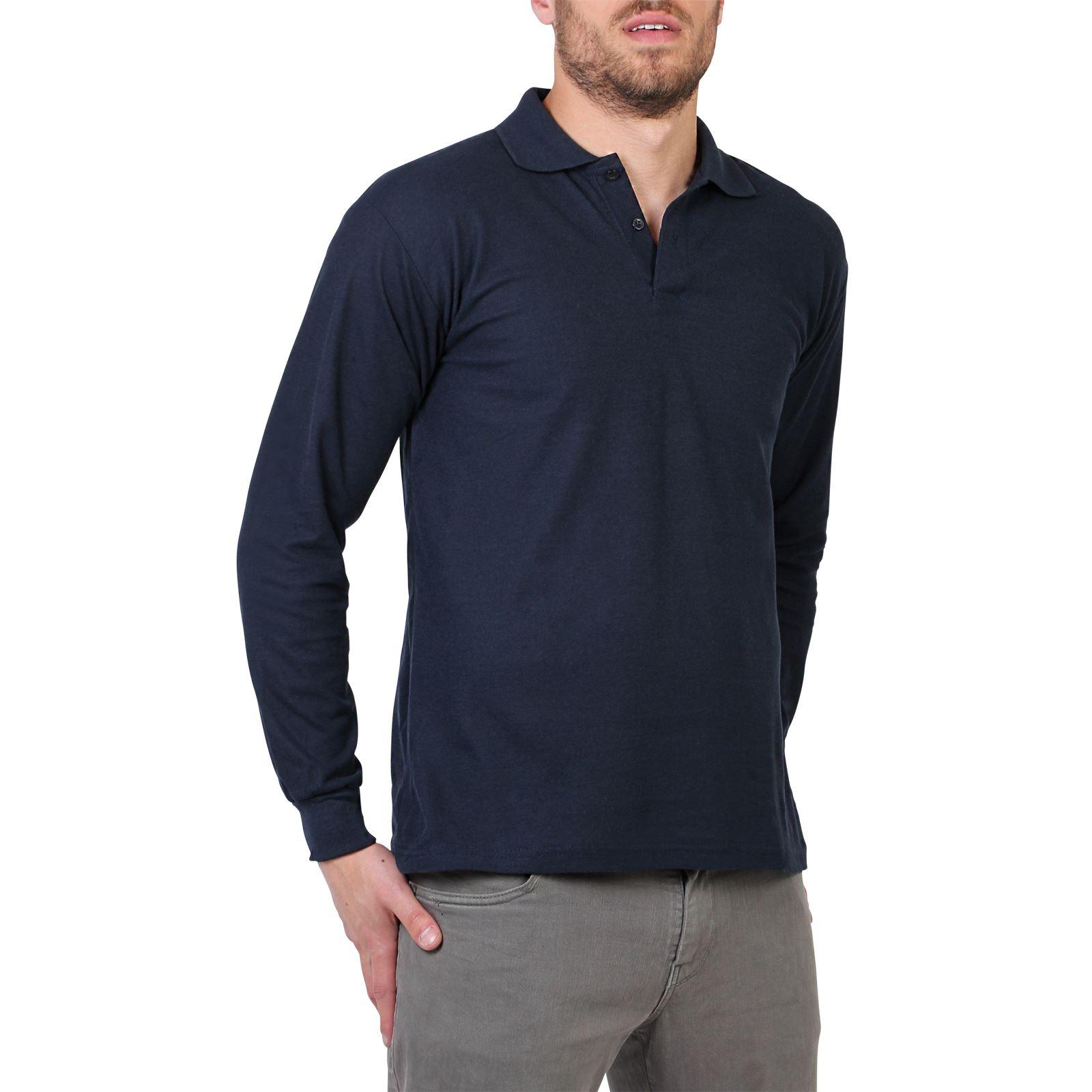 Mens casual long sleeve polo t shirt top plain regular for Xxl mens polo shirts