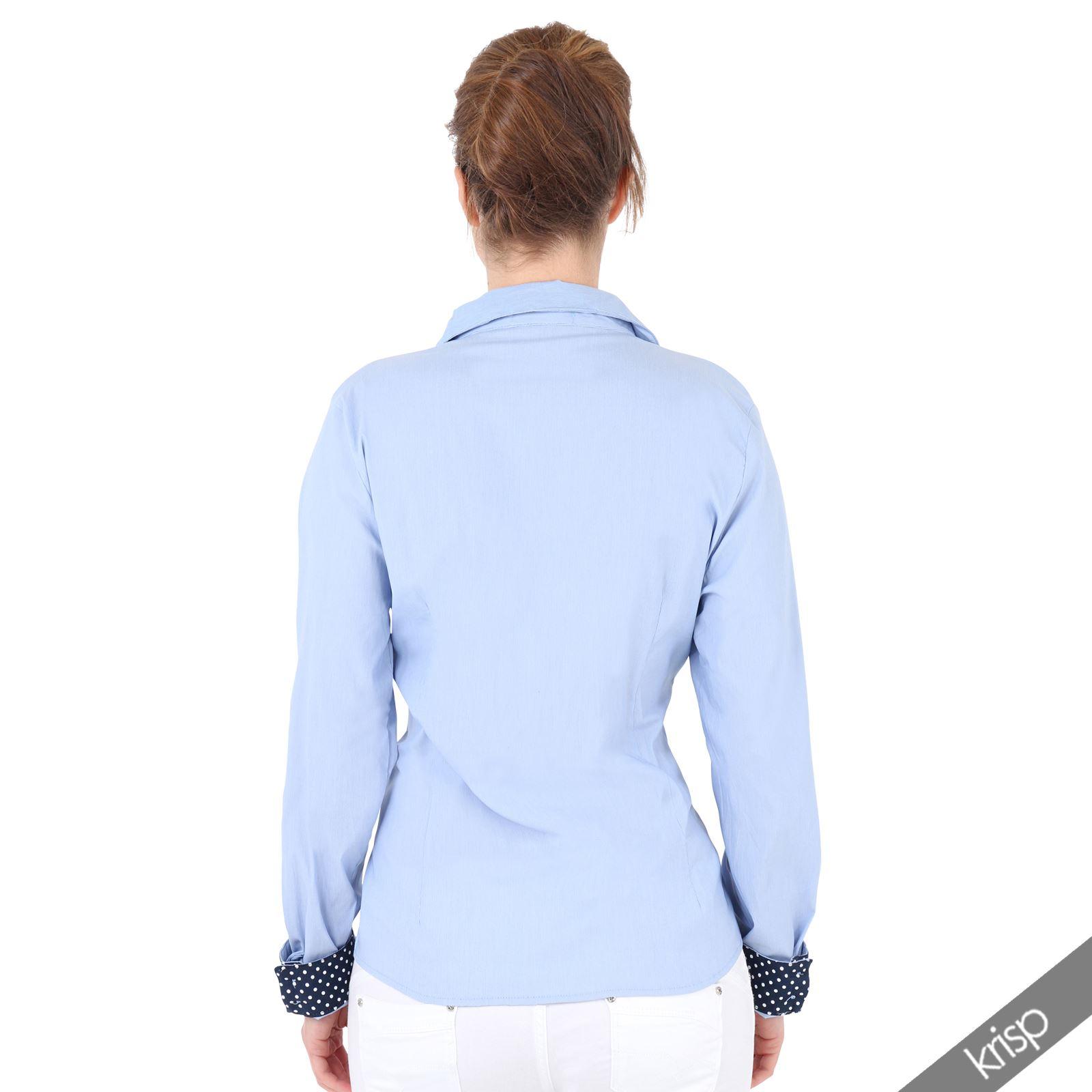 damen hemd bluse mit gepunkteten kontraststreifen gro e. Black Bedroom Furniture Sets. Home Design Ideas