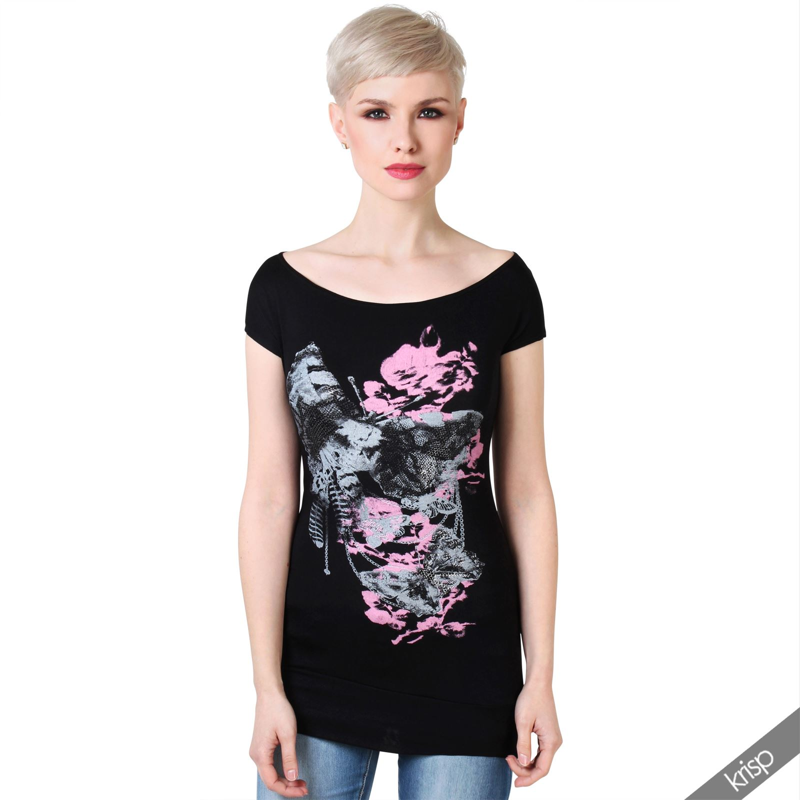 Women-Ladies-Boat-Neck-Butterfly-Fancy-Short-Sleeve-T-Shirt-Blouse-Batwing-Top