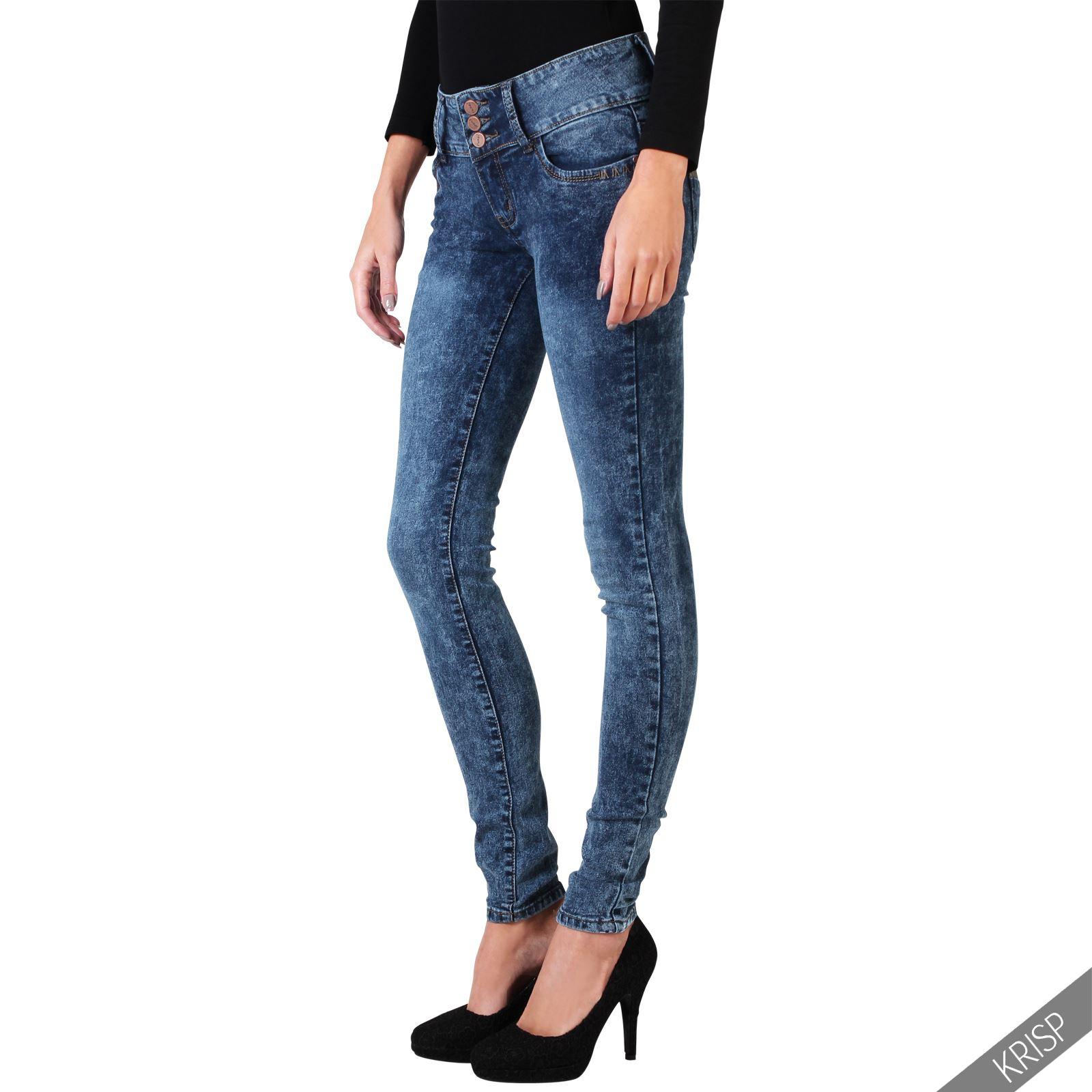 damen stretch denim jeans hoher bund high waist jeanshose hose slim skinny ebay. Black Bedroom Furniture Sets. Home Design Ideas