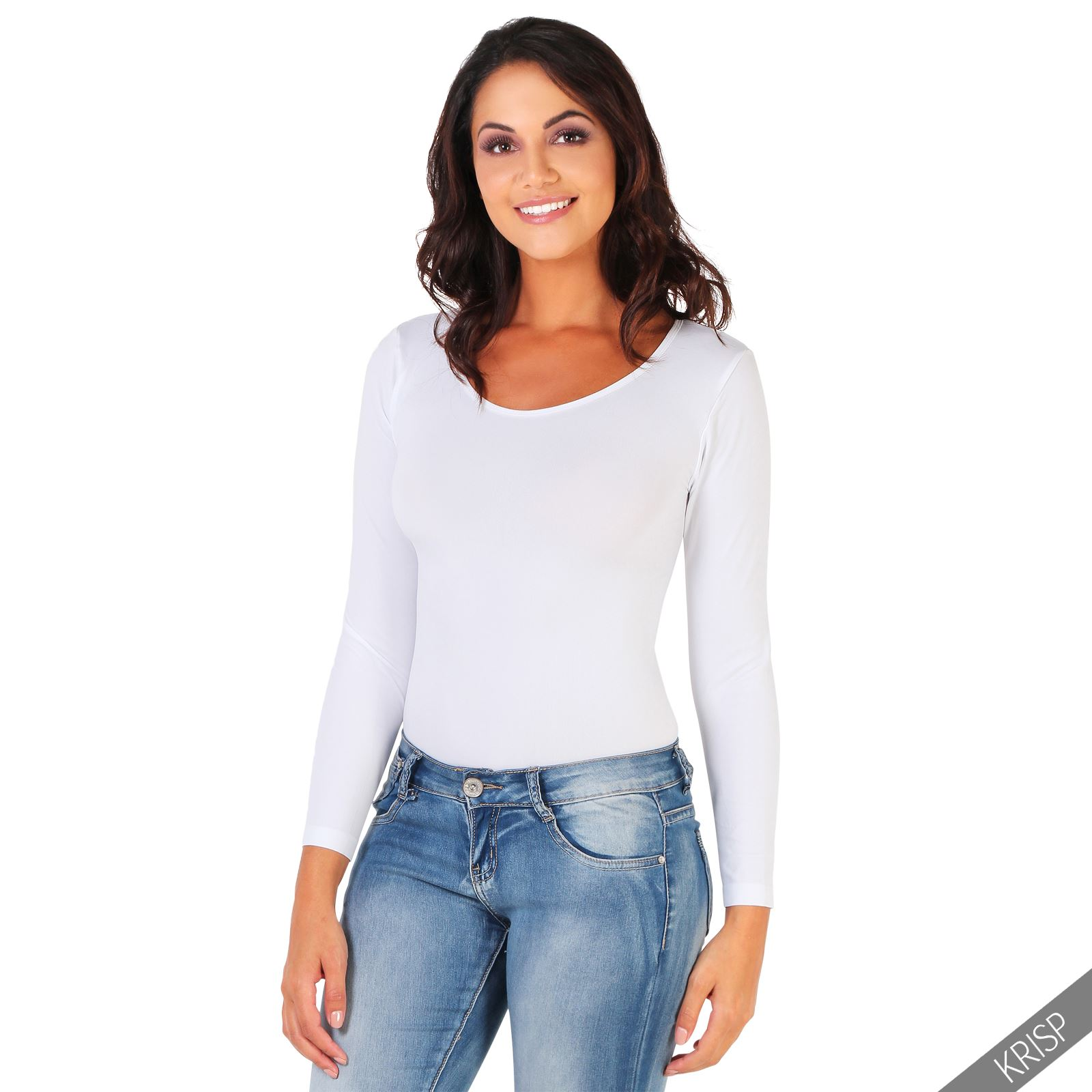 Womens Ladies Bodysuit Leotard Long Sleeve Body Top Casual