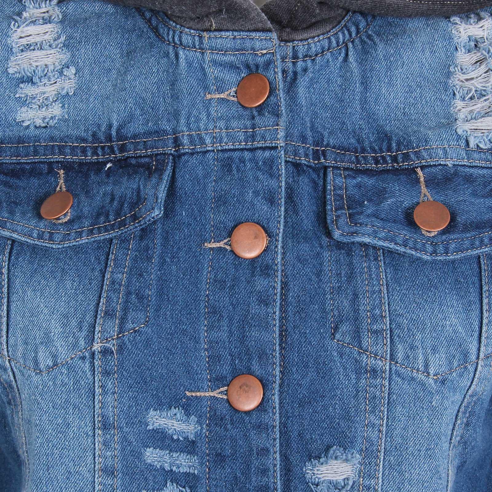 jeans jacke damen jersey rmel kapuze helle waschung ausgefranst denim biker ebay. Black Bedroom Furniture Sets. Home Design Ideas