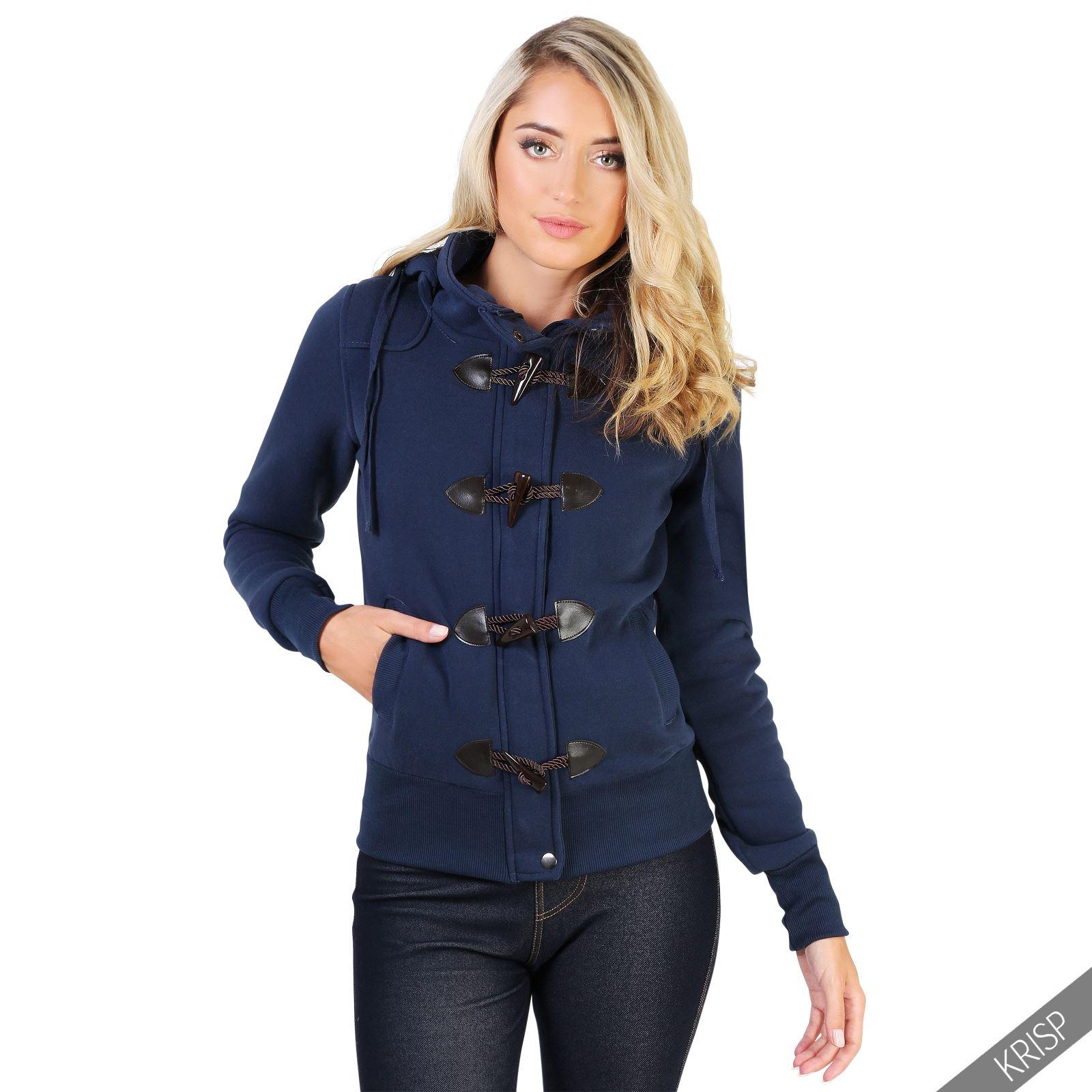 Womens Ladies Zip Off Hood Duffle Jacket Fleece Jersey Toggle ...