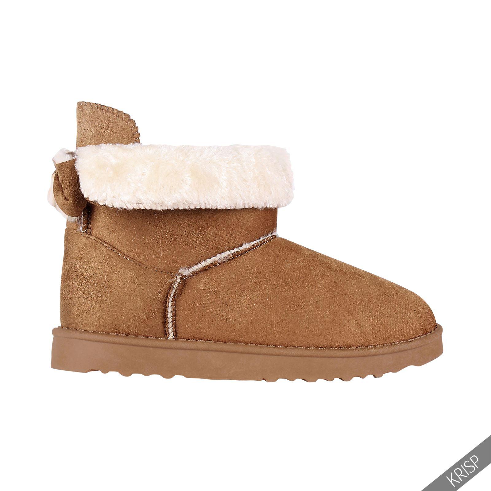 Womens Warm Fur Lined Snug Ankle Calf Boots Flat Ladies Winter Shoes Snow Ski | EBay