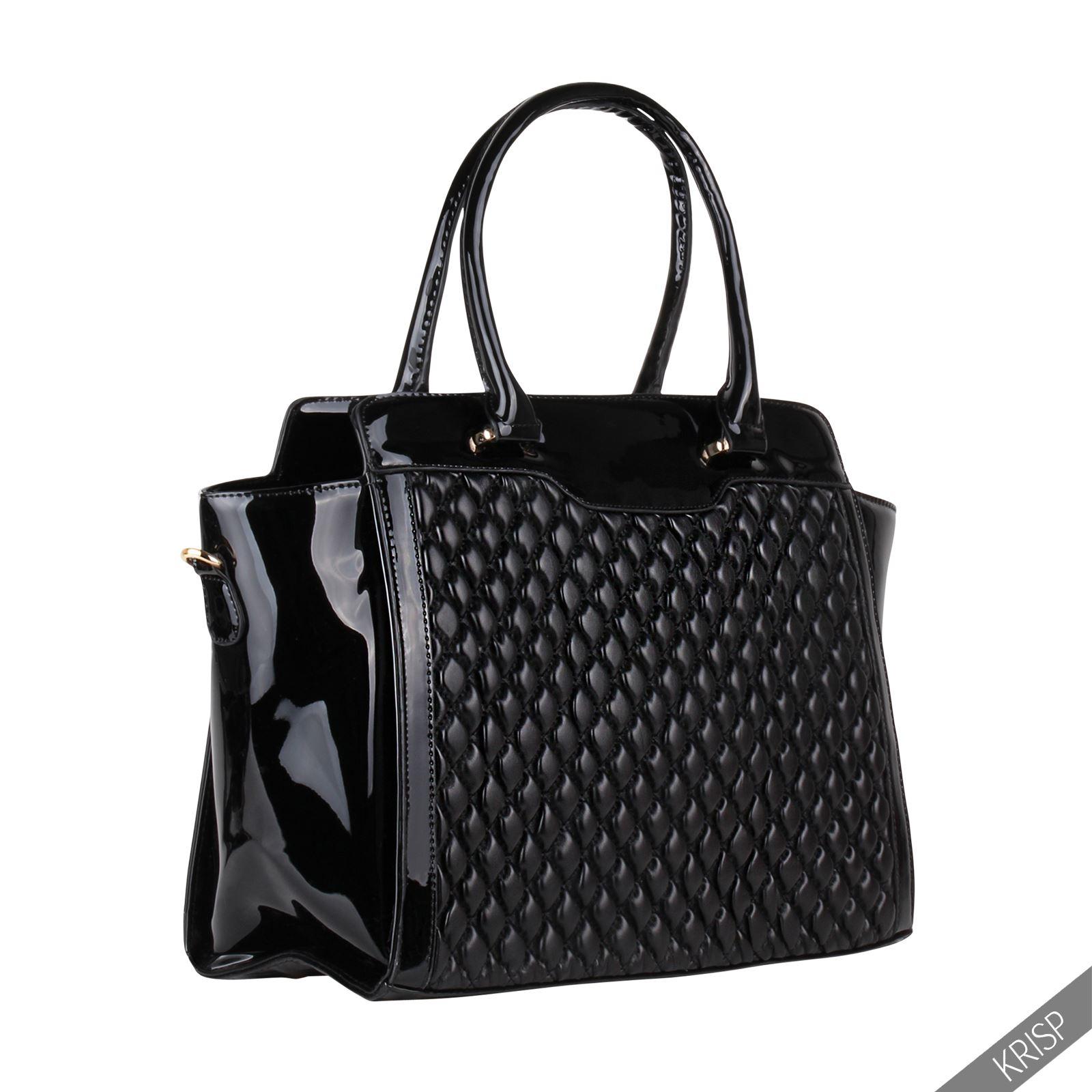 Sac à Main Bandoulière Vernis Noir : Femmes sac ? main design matelass? bandouli?re cuir noir