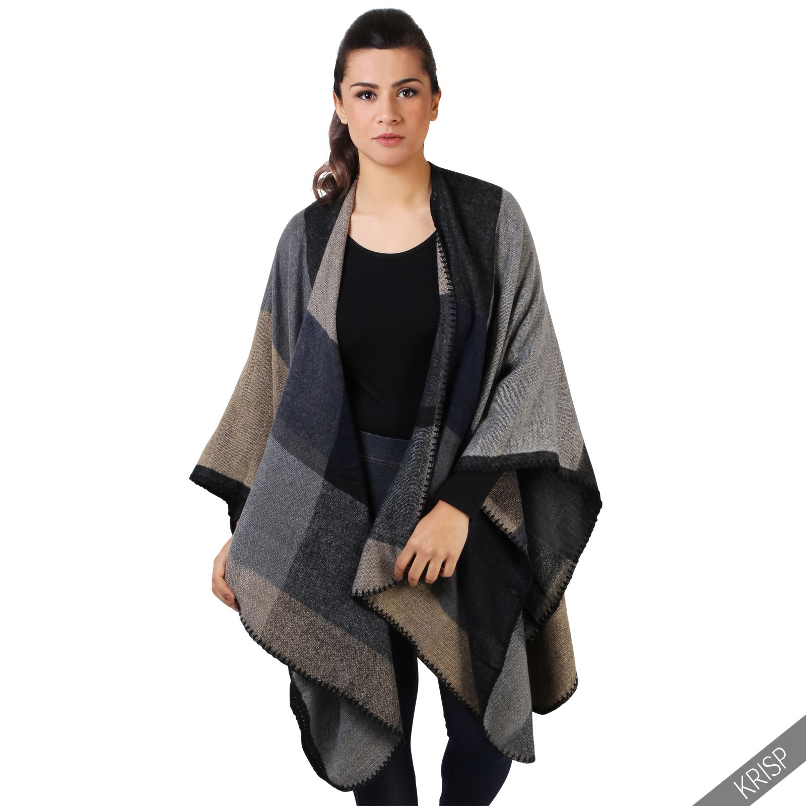 femmes poncho cape echarpe jacket manteau blouson sans manche carreaux fleurs. Black Bedroom Furniture Sets. Home Design Ideas