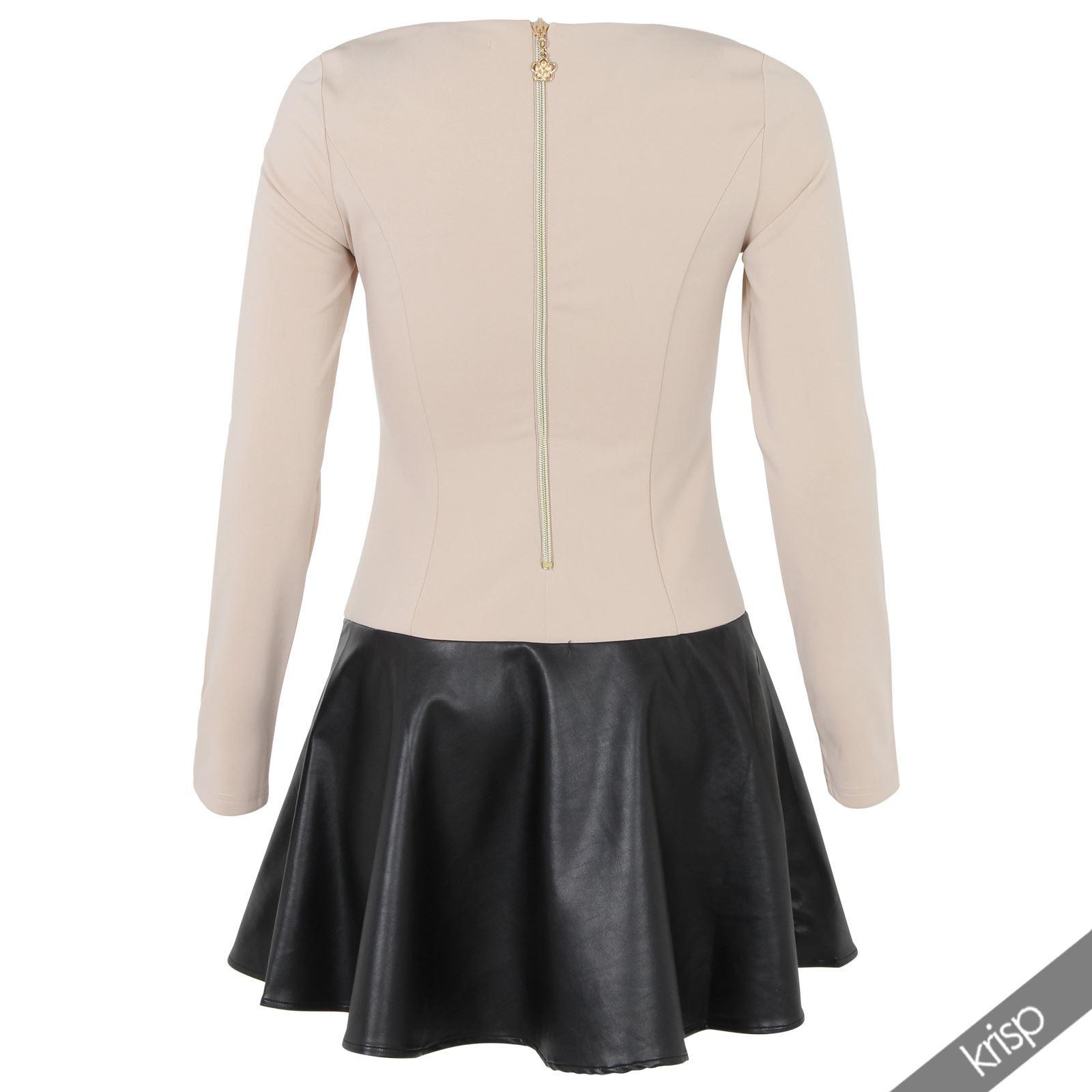 krisp damen kurzes kleid langarm leder stoff skater kleid. Black Bedroom Furniture Sets. Home Design Ideas