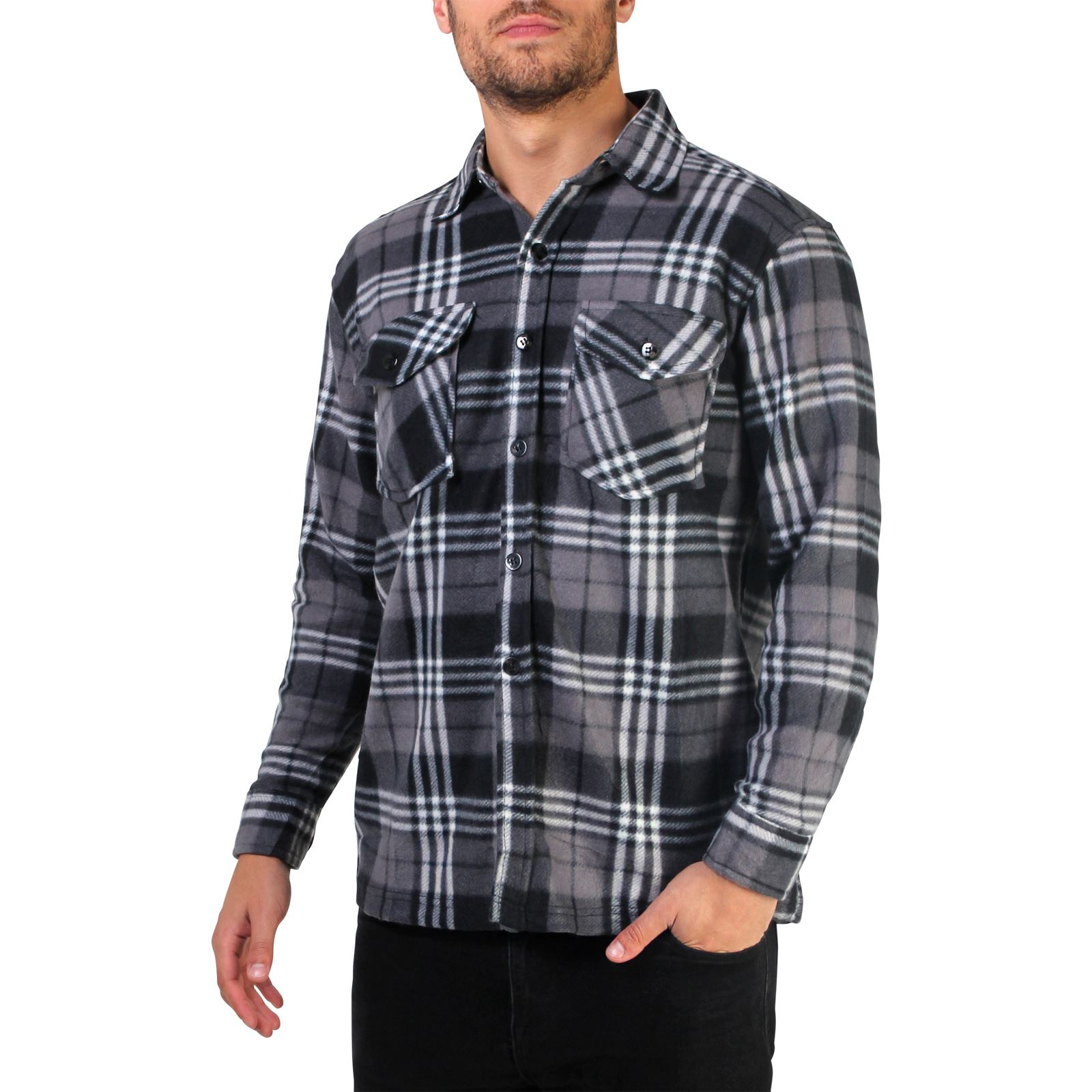 mens check soft fleece thermal lumberjack warm winter