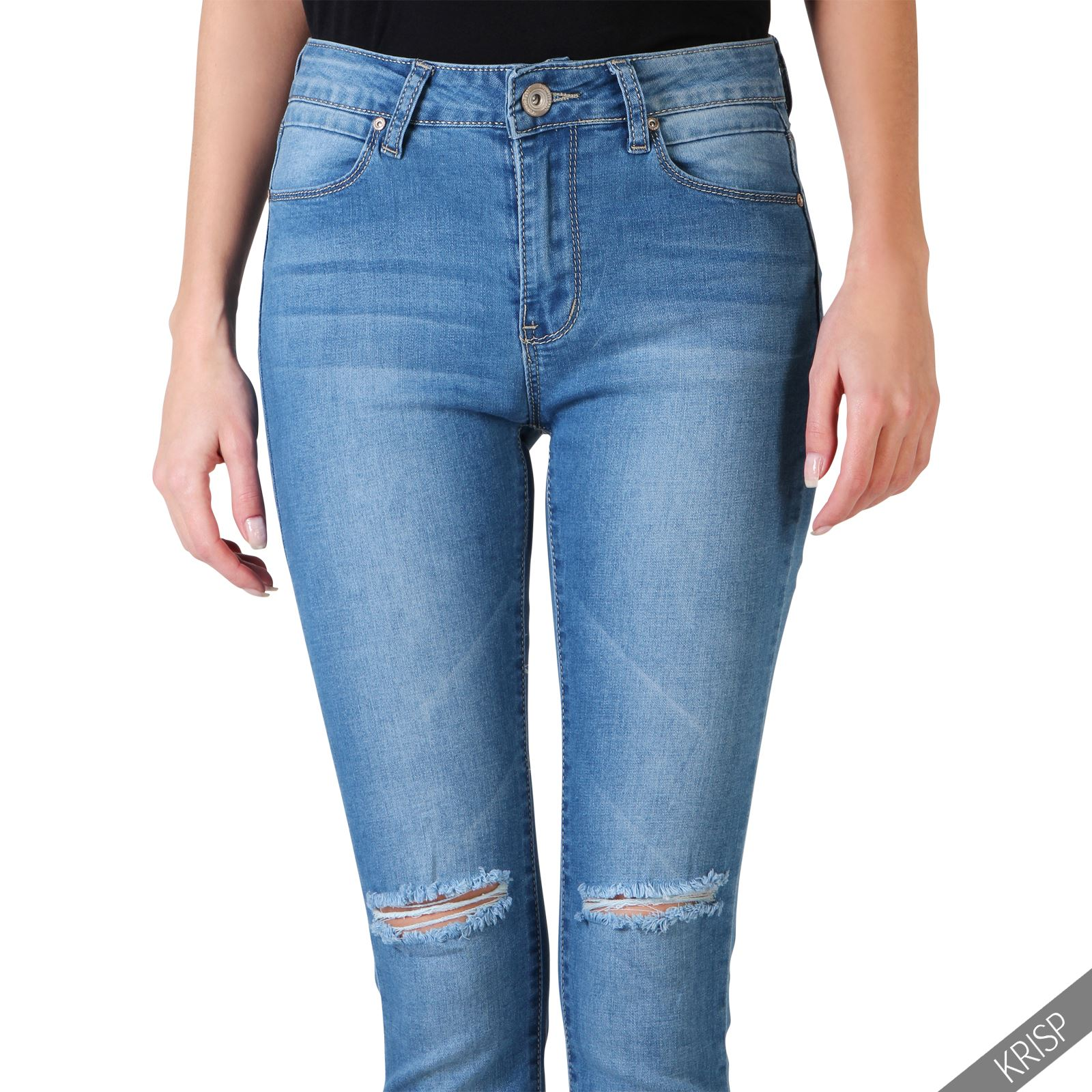 damen stretch skinny jeans ripped hose mit l chern. Black Bedroom Furniture Sets. Home Design Ideas