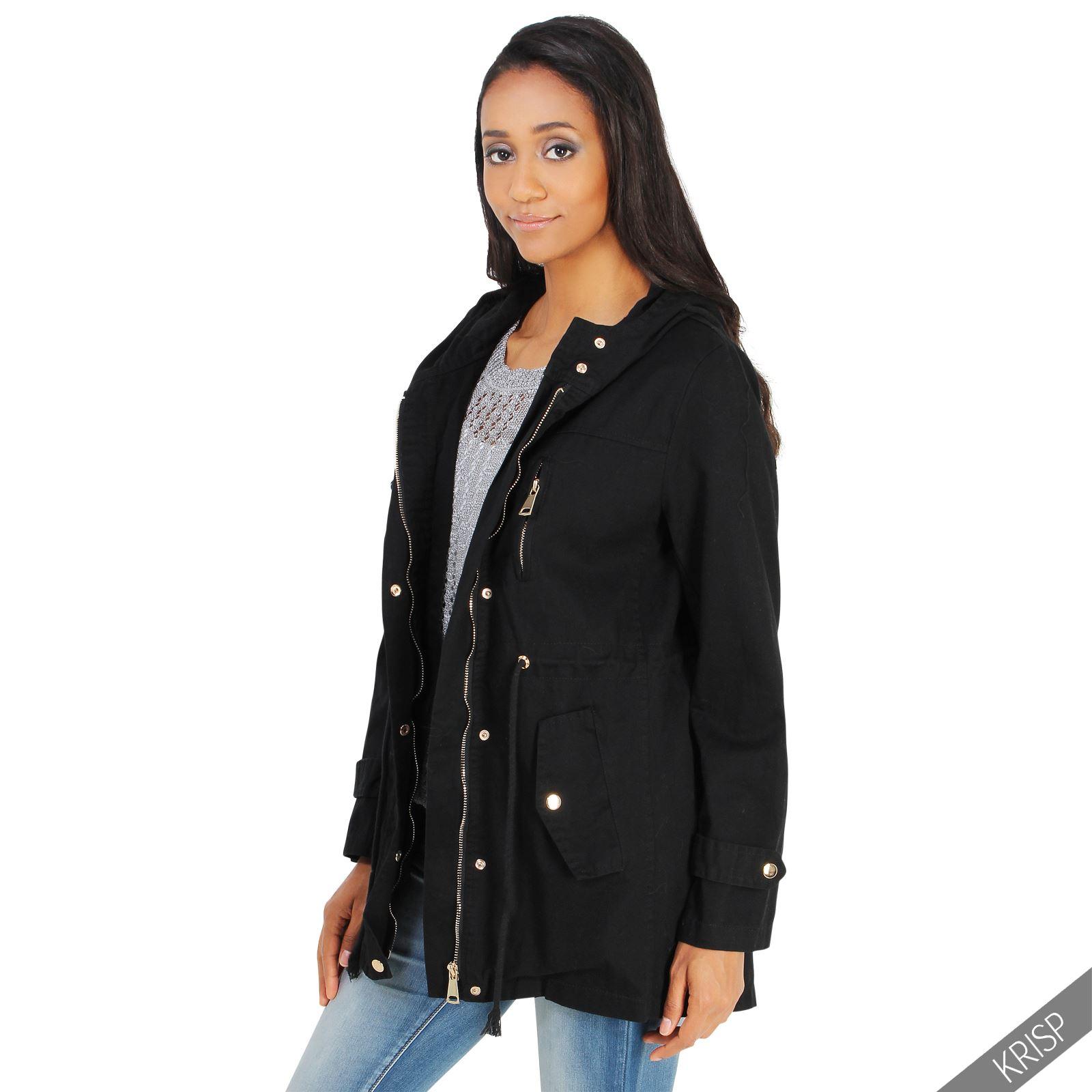 Womens Ladies Classic Hooded Parka Jacket Long Coat Fishtail Raincoat Trench Mac