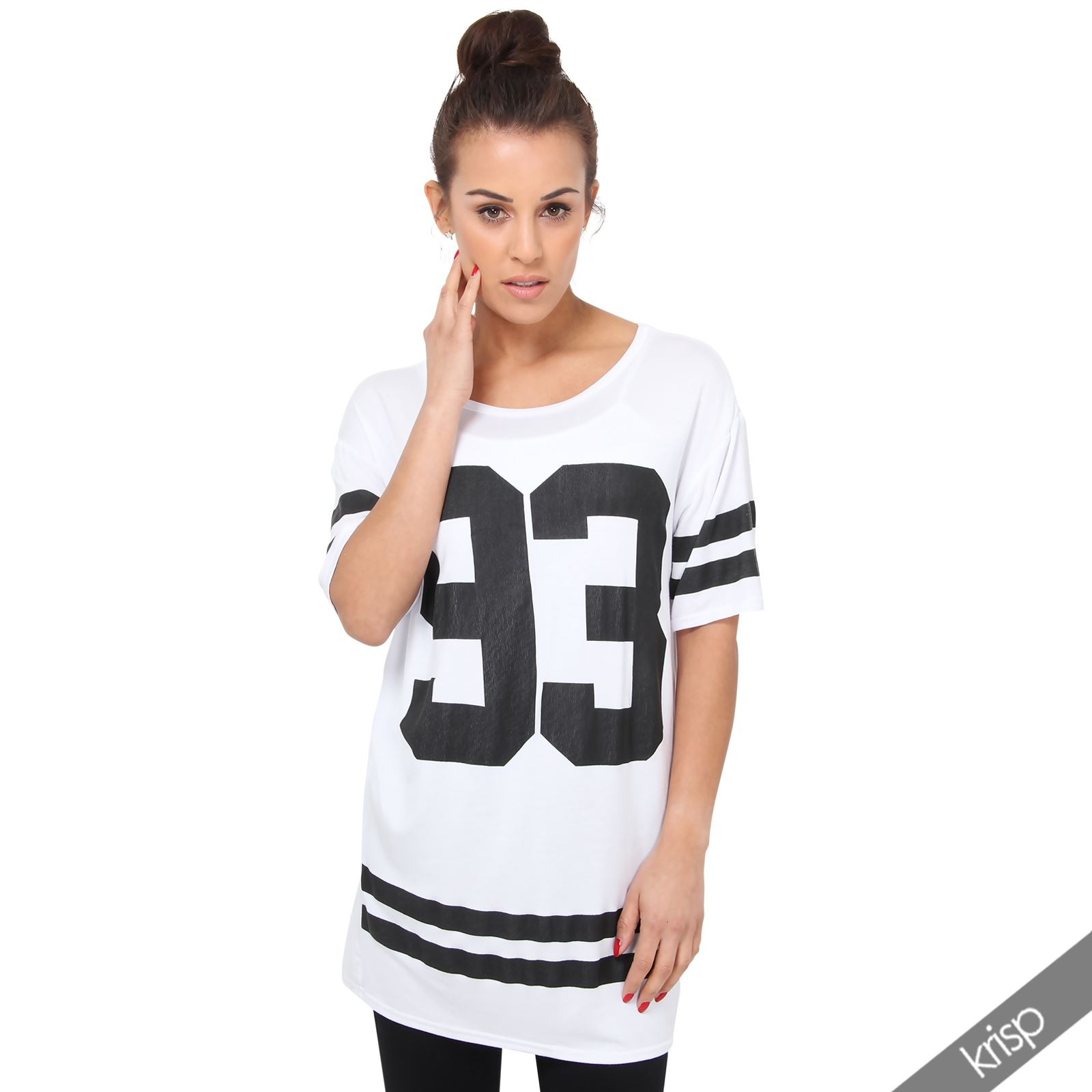 damen t shirt nummer 93 oversize baseball top american college top plus size ebay. Black Bedroom Furniture Sets. Home Design Ideas