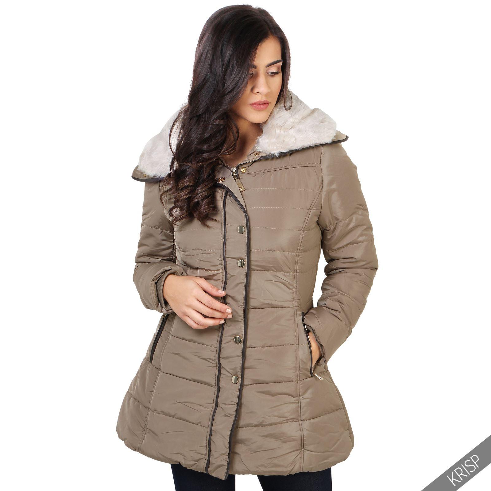 femmes manteau doudoune mil longue col fause fourrure chaud hiver doubl ebay. Black Bedroom Furniture Sets. Home Design Ideas