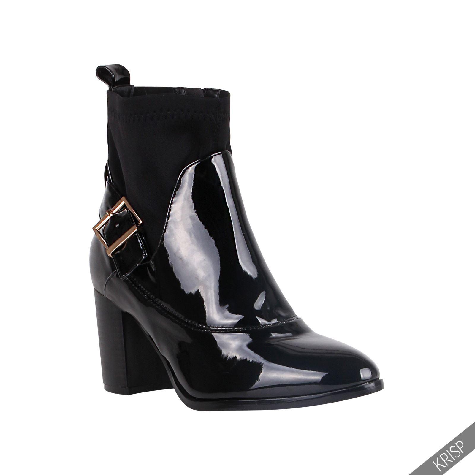 femmes bottines talon bloc aiguille vernis boots chaussures cheville tendance ebay. Black Bedroom Furniture Sets. Home Design Ideas
