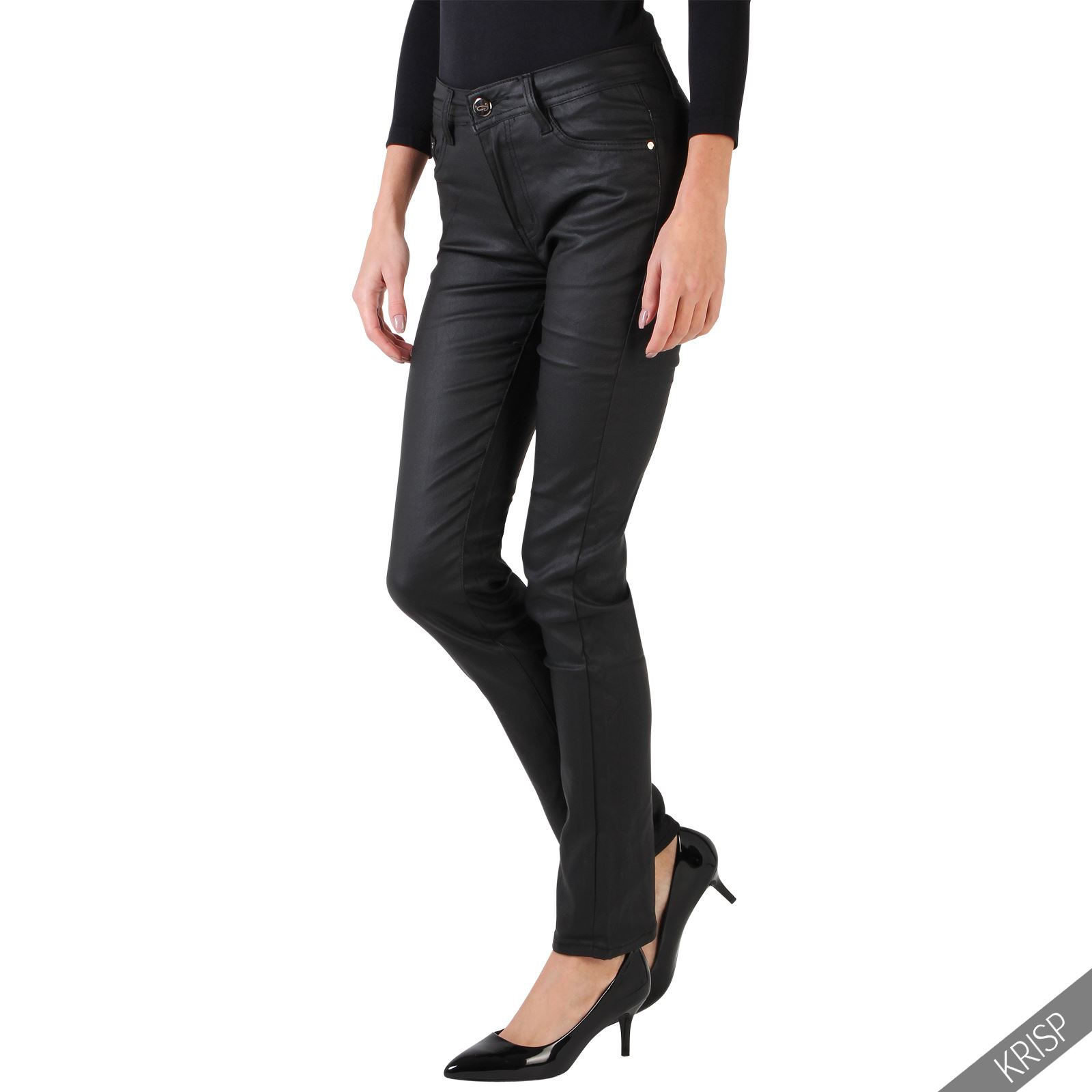 Luxury New Women Leather Pants PU Button Fly With Zipper Pockets Skinny