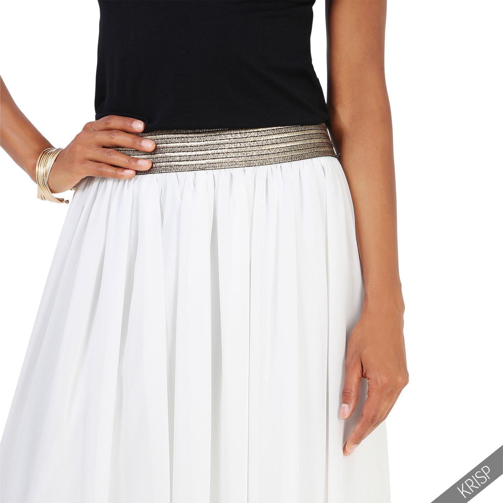 femme jupe longue mousseline pliss e taille elastique nouveau et ebay. Black Bedroom Furniture Sets. Home Design Ideas