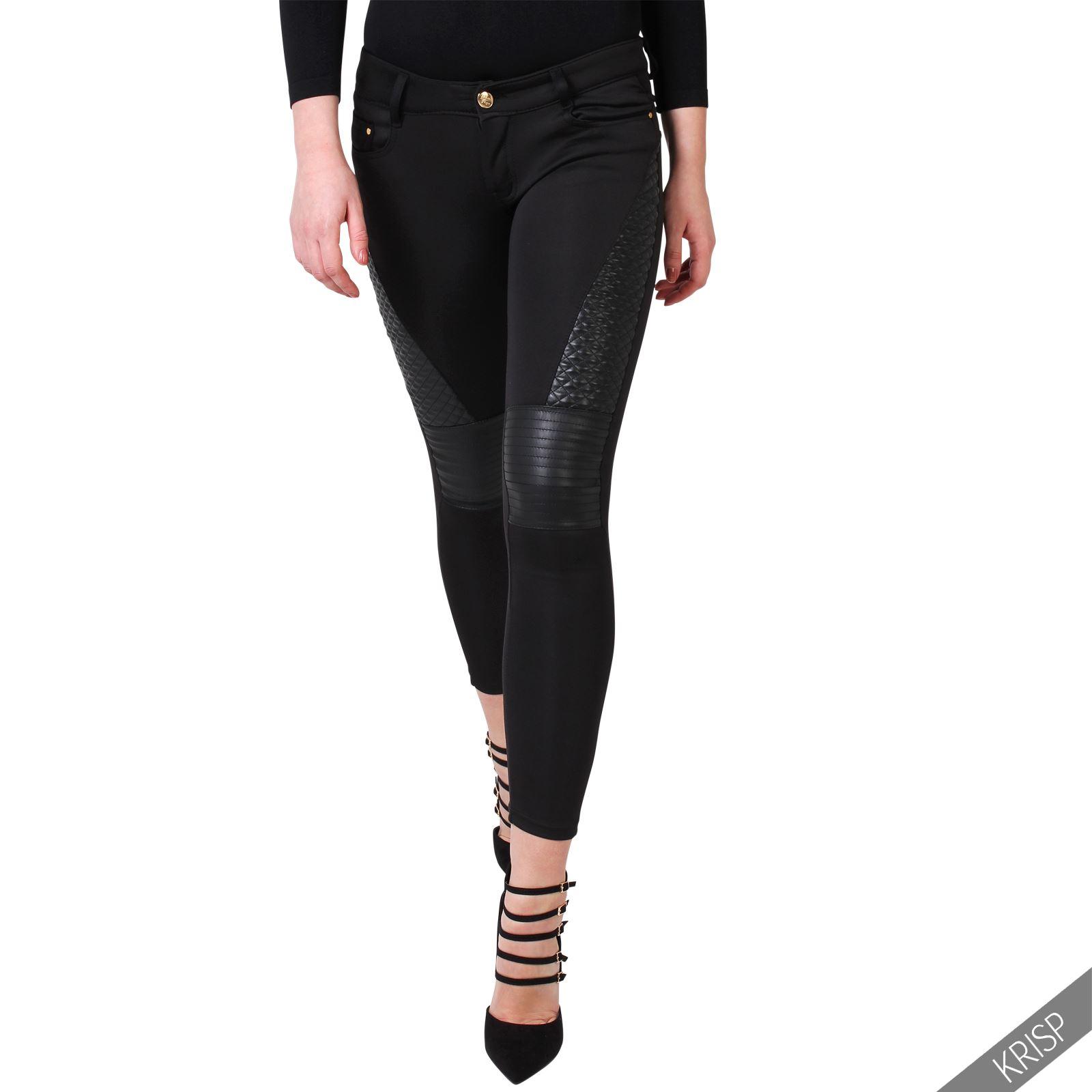 krisp pantalon motard simili cuir sexy biker slim skinny leggings jeggins ebay. Black Bedroom Furniture Sets. Home Design Ideas