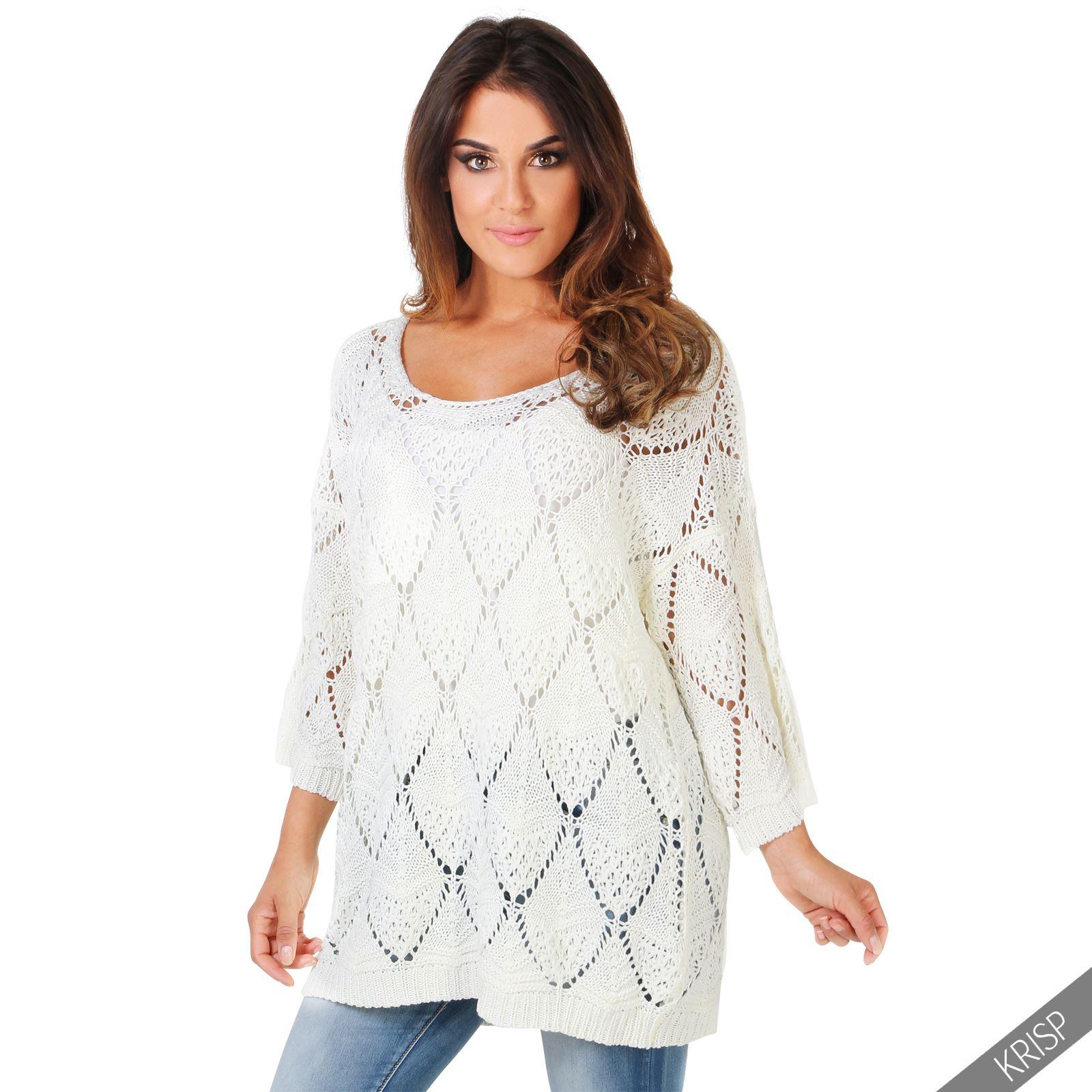 damen oversize strickpullover pullover pulli sweater lang. Black Bedroom Furniture Sets. Home Design Ideas