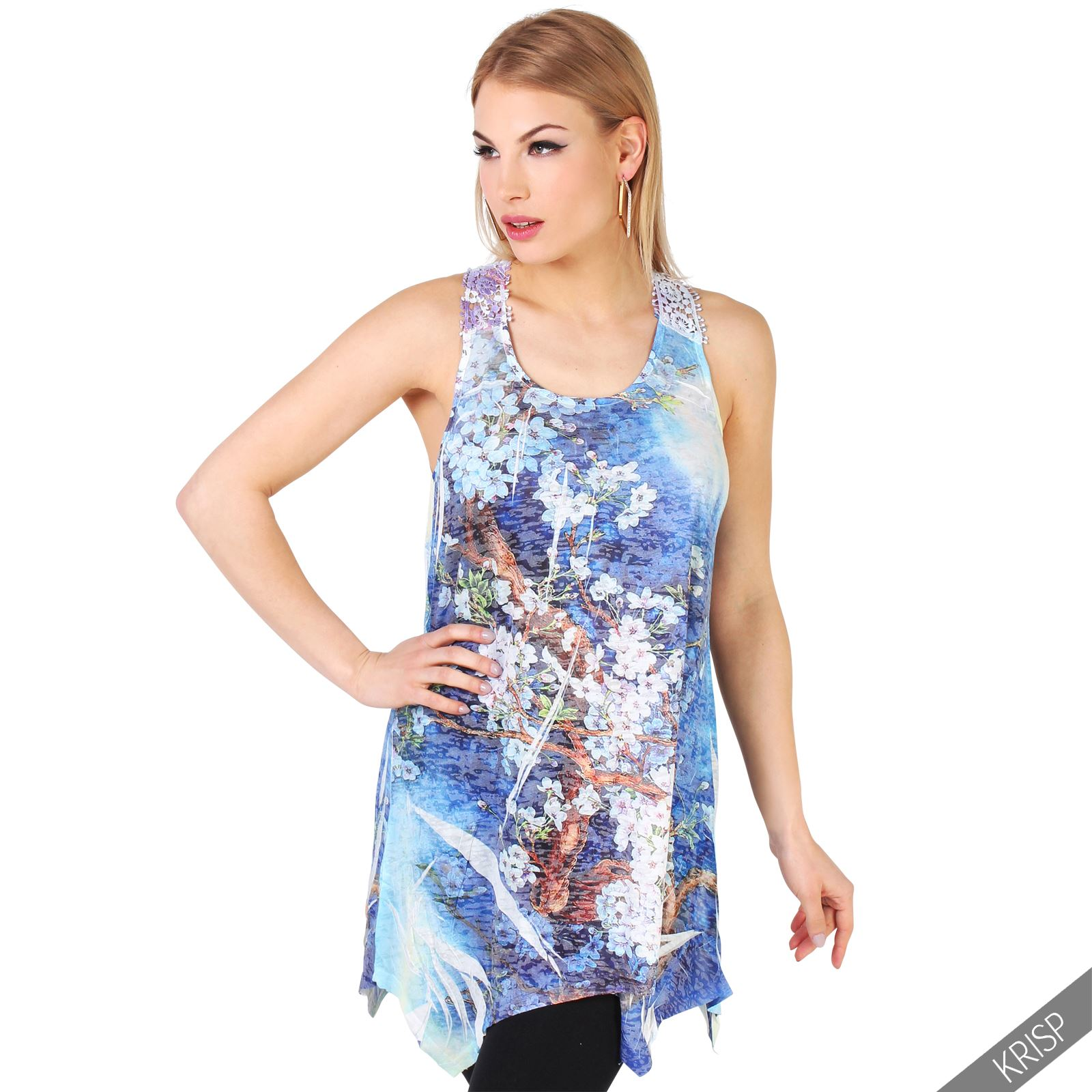 Womens sleeveless loose tunic vest top lace racer back for Womens denim tunic shirt