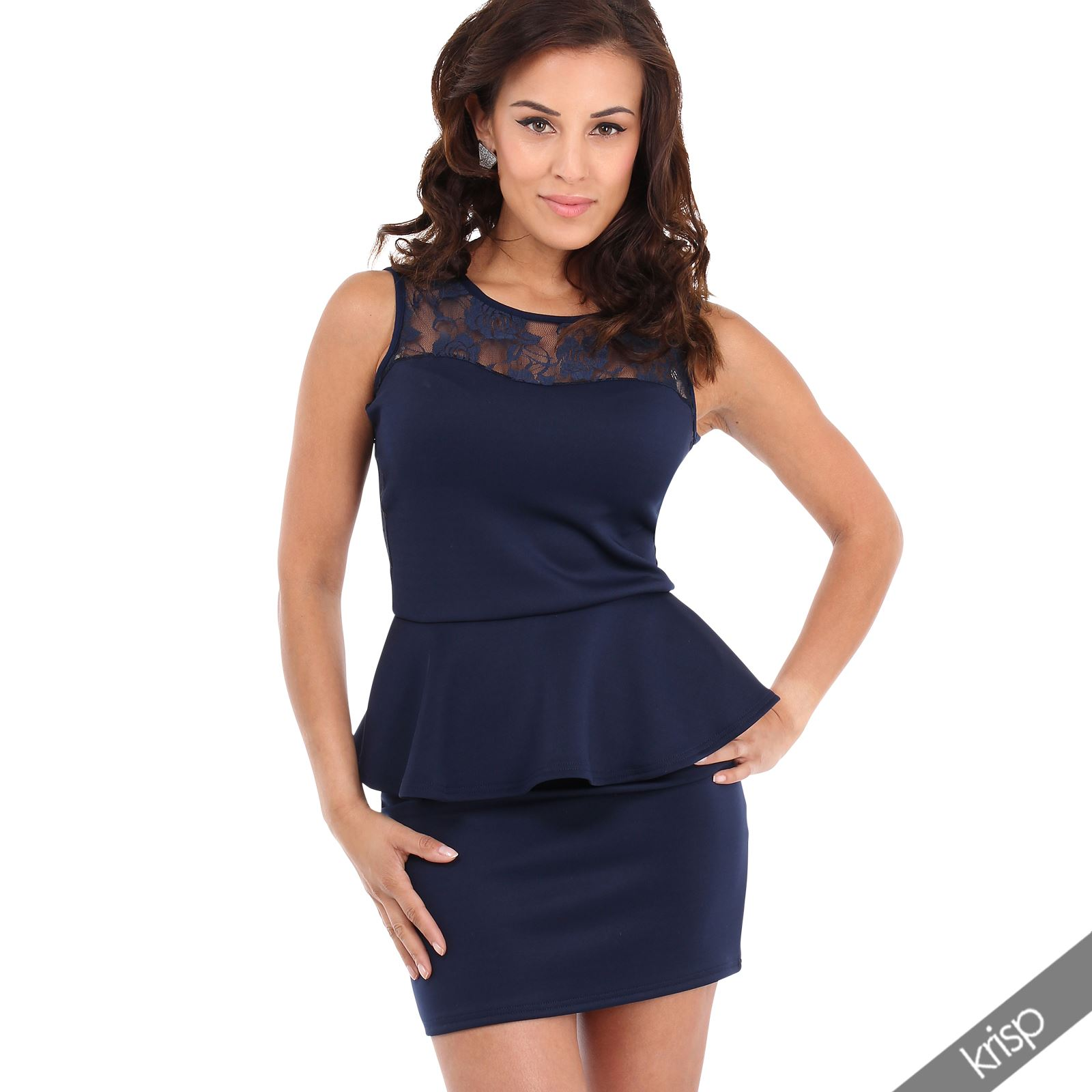 Lace-Mesh-Panel-Bodycon-Peplum-Pencil-Wiggle-Stretch-Frill-Mini-Dress-Party