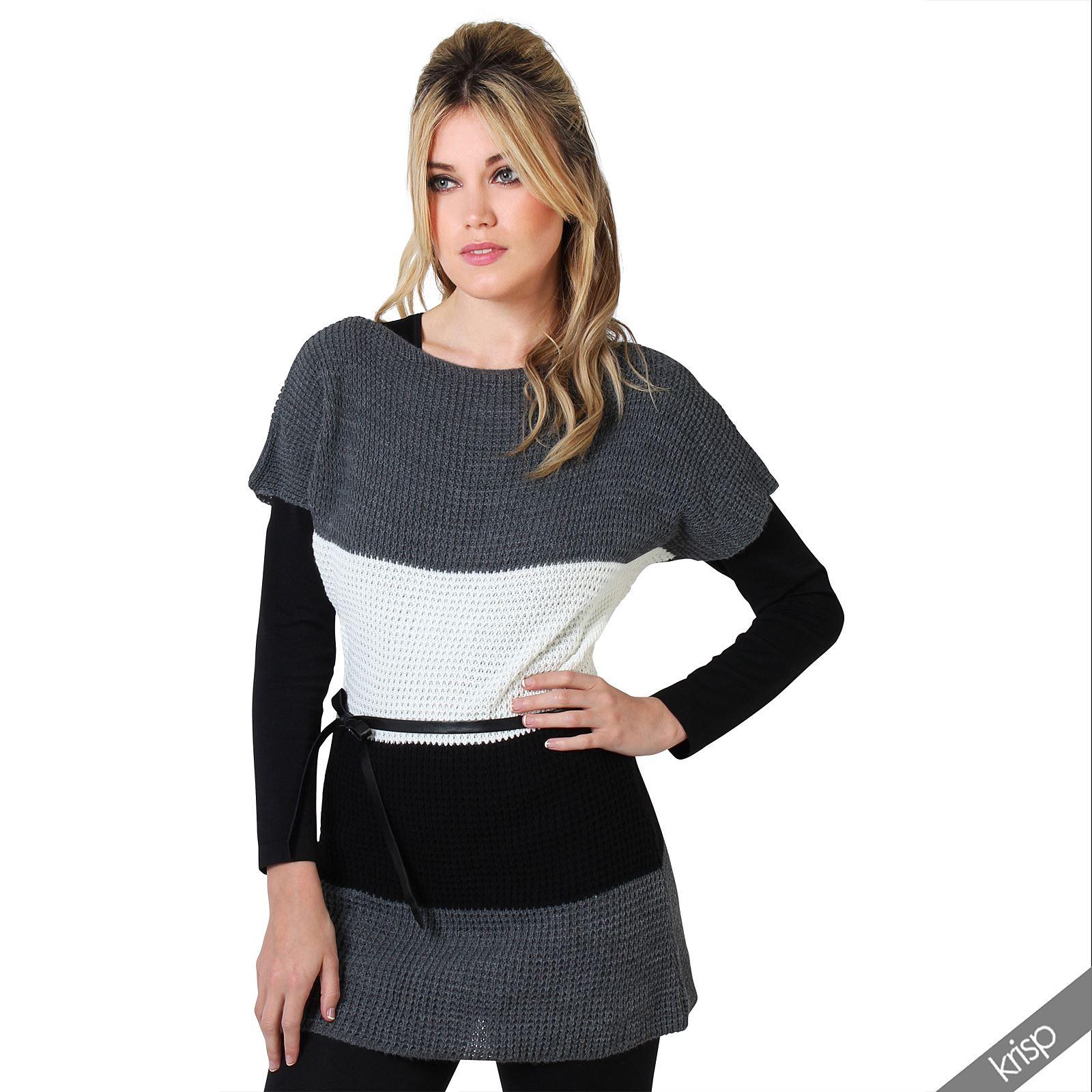 damen rmelloser strickpulli tunika gestreift blockstreifen strick top longtop ebay. Black Bedroom Furniture Sets. Home Design Ideas