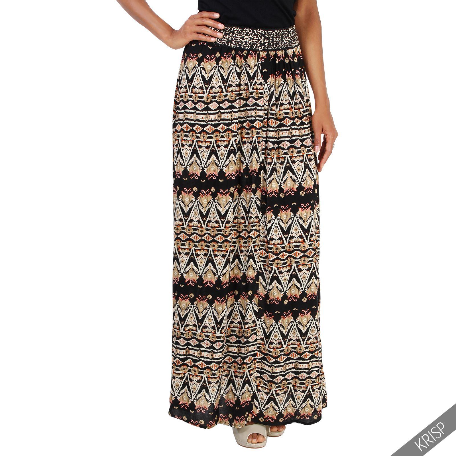 femme jupe longue imprim azt que taille elastique nouveau et ebay. Black Bedroom Furniture Sets. Home Design Ideas