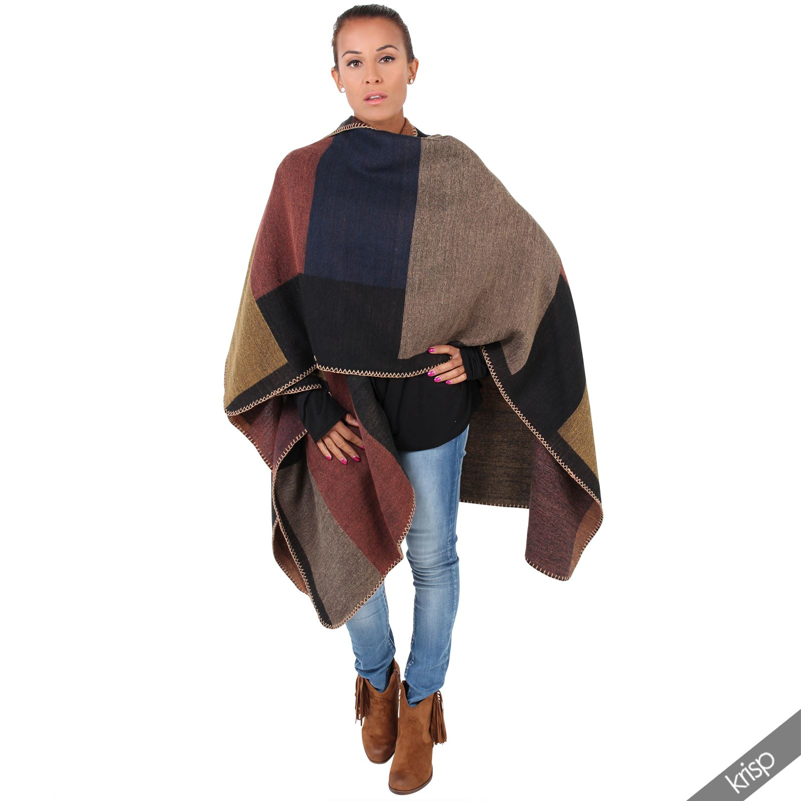 Winter Large Wrap Shrug Check Blanket Scarf Shawl Duster Coat Cape Top Outerwear