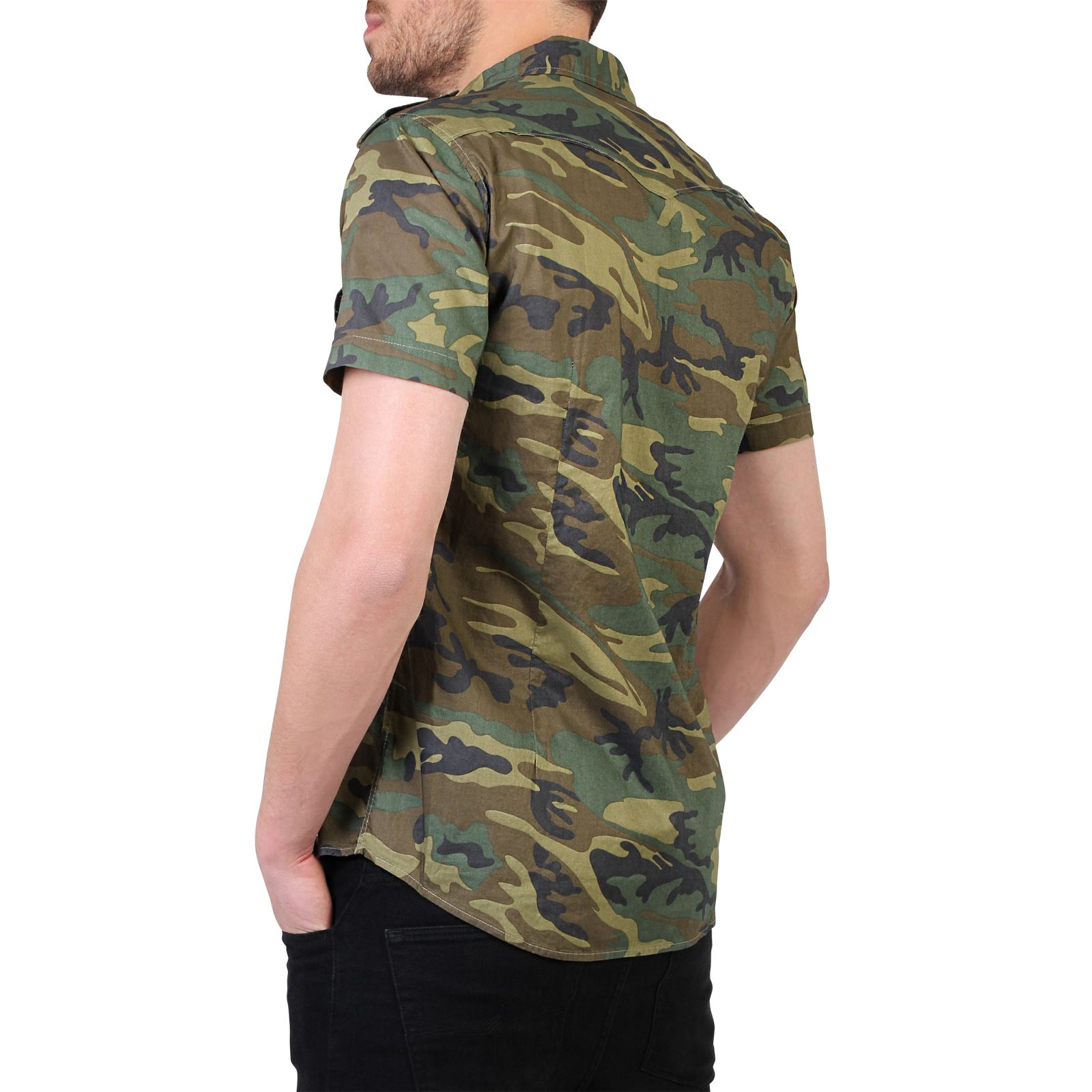Men camouflage casual combat short sleeve cotton slim fit for Mens fitted short sleeve shirts