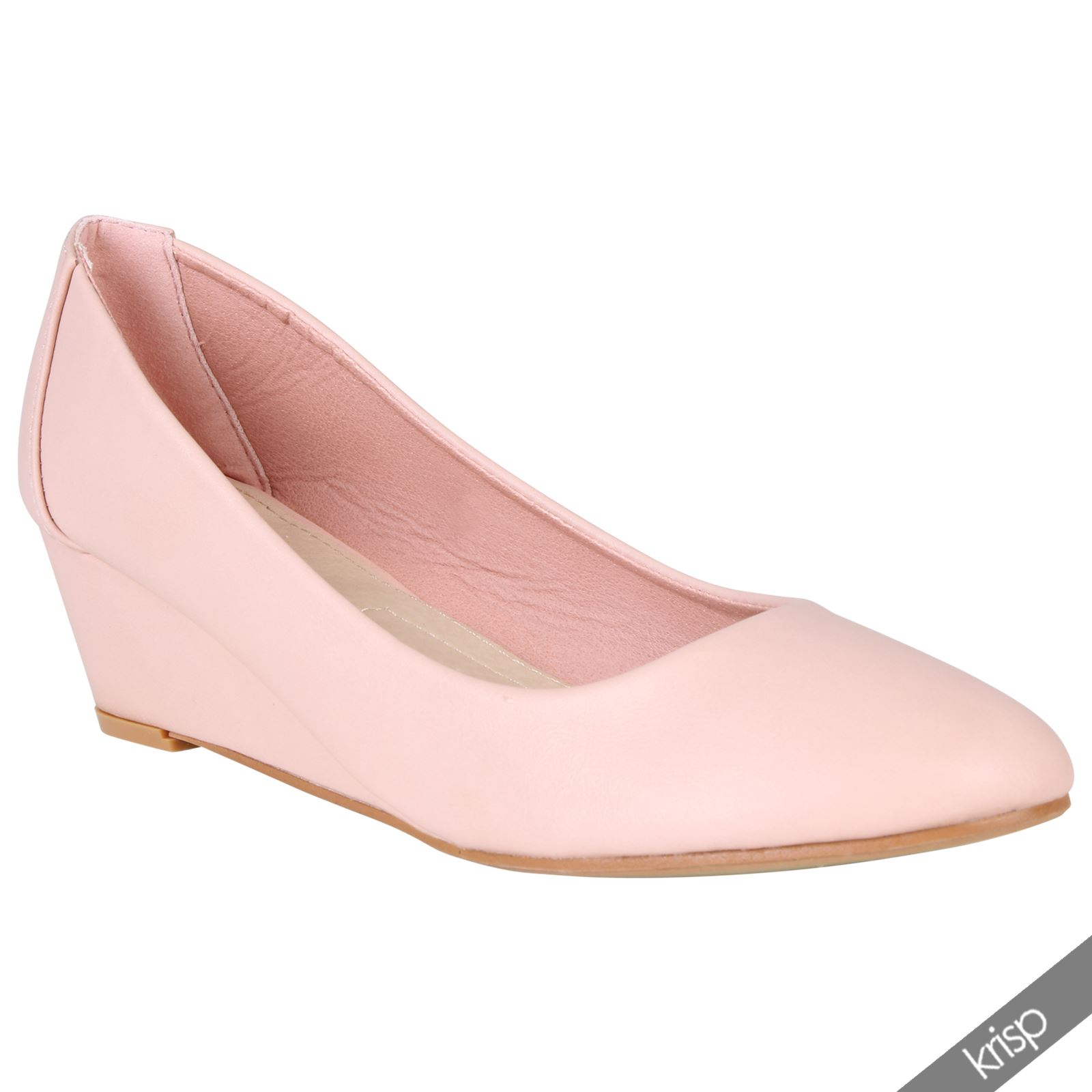 womens plain low mid high heel wedge slip on pumps court