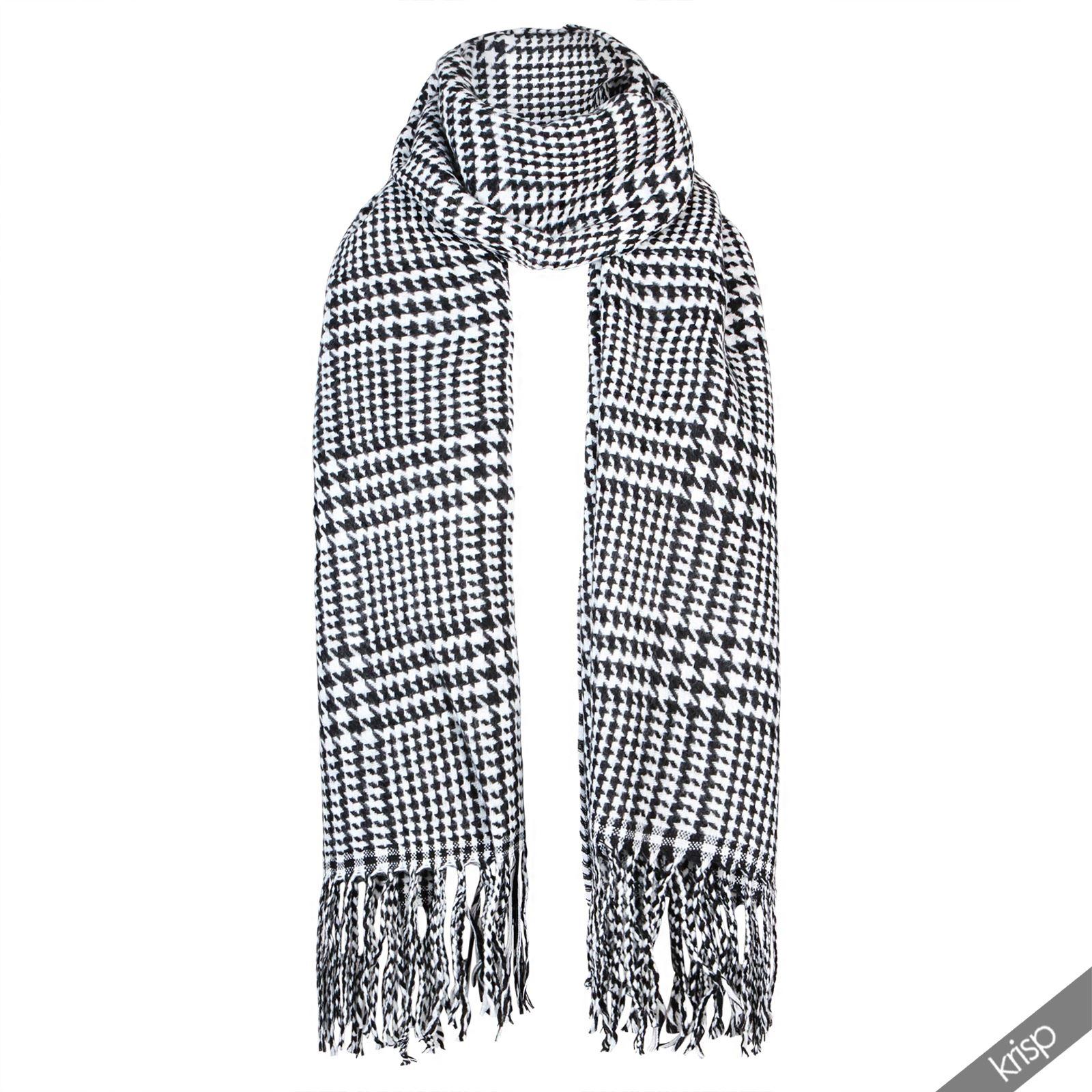 karierter schal glencheck schwarz wei karo fransentuch wintermode accessoire ebay. Black Bedroom Furniture Sets. Home Design Ideas