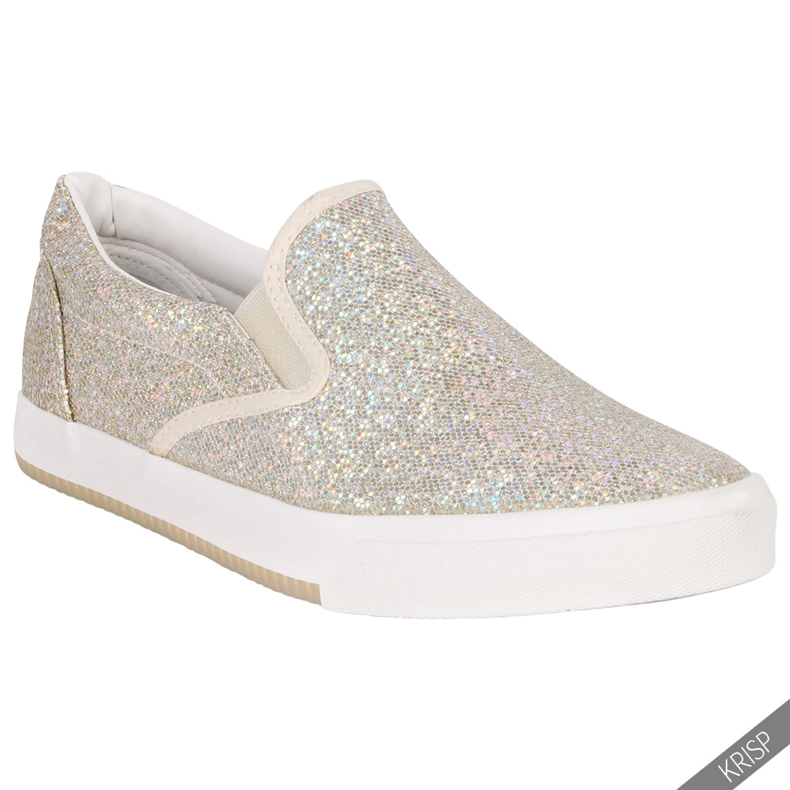 damen glitter fashion skater schuhe slipper sneaker turnschuhe glitzer metallic ebay. Black Bedroom Furniture Sets. Home Design Ideas