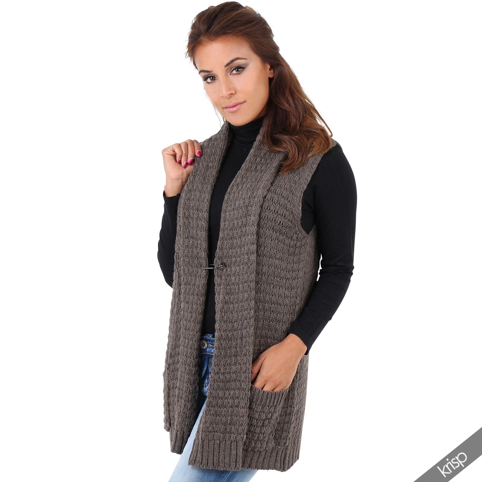 Knitting Pattern Ladies Sleeveless Cardigan : Womens Chunky Knit Sleeveless Open Cardigan Waistcoat Gilet Top Jumper Sweater