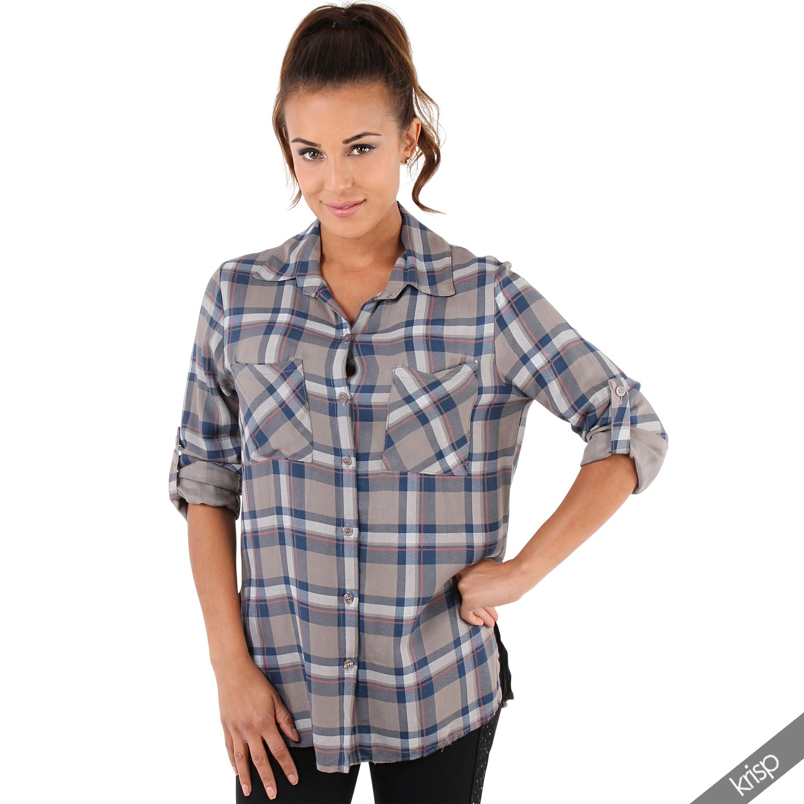 damen karierte hemdbluse holzf llerhemd lumberjack karo hemd bluse lang ebay. Black Bedroom Furniture Sets. Home Design Ideas