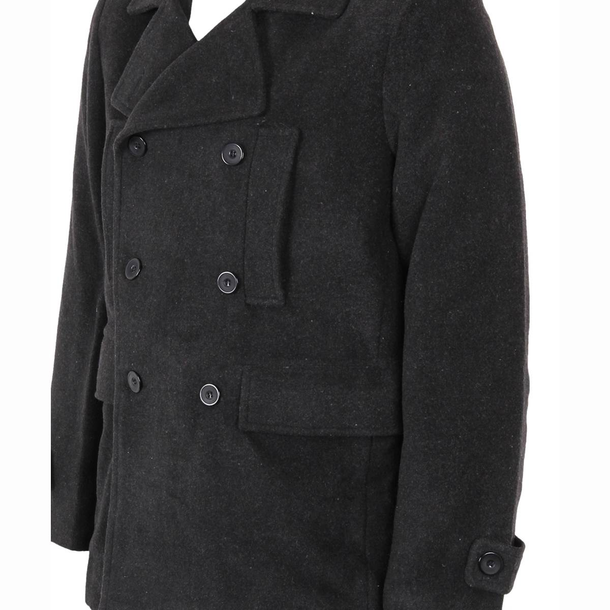 herren schwarze winterjacke pea coat caban jacke zweireiher mantel wolljacke ebay. Black Bedroom Furniture Sets. Home Design Ideas